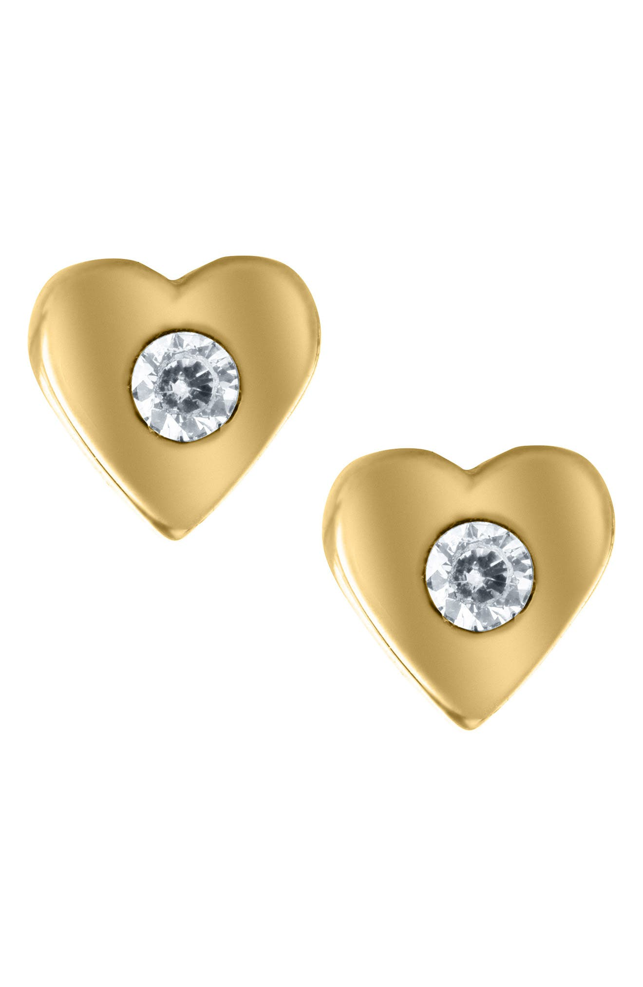 14k Gold & Cubic Zirconia Heart Earrings,                             Main thumbnail 1, color,                             Gold