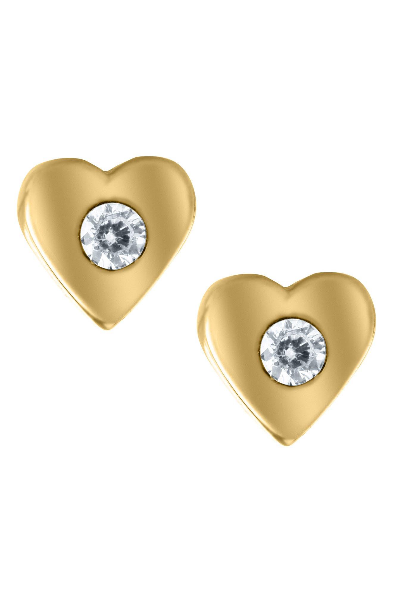 Mignonette 14k Gold & Cubic Zirconia Heart Earrings (Baby Girls)