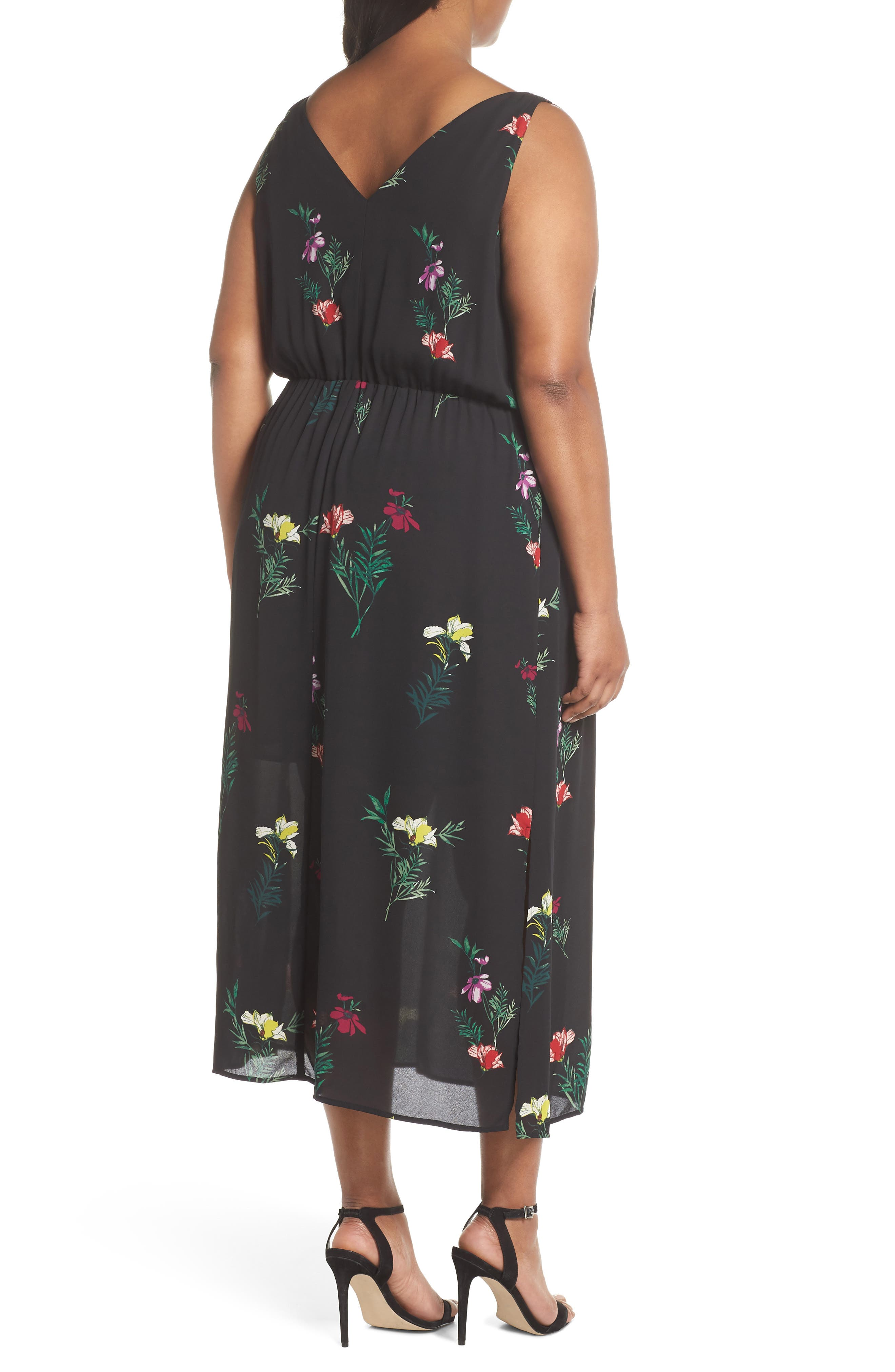 Tropical Garden Midi Dress,                             Alternate thumbnail 2, color,                             Rich Black