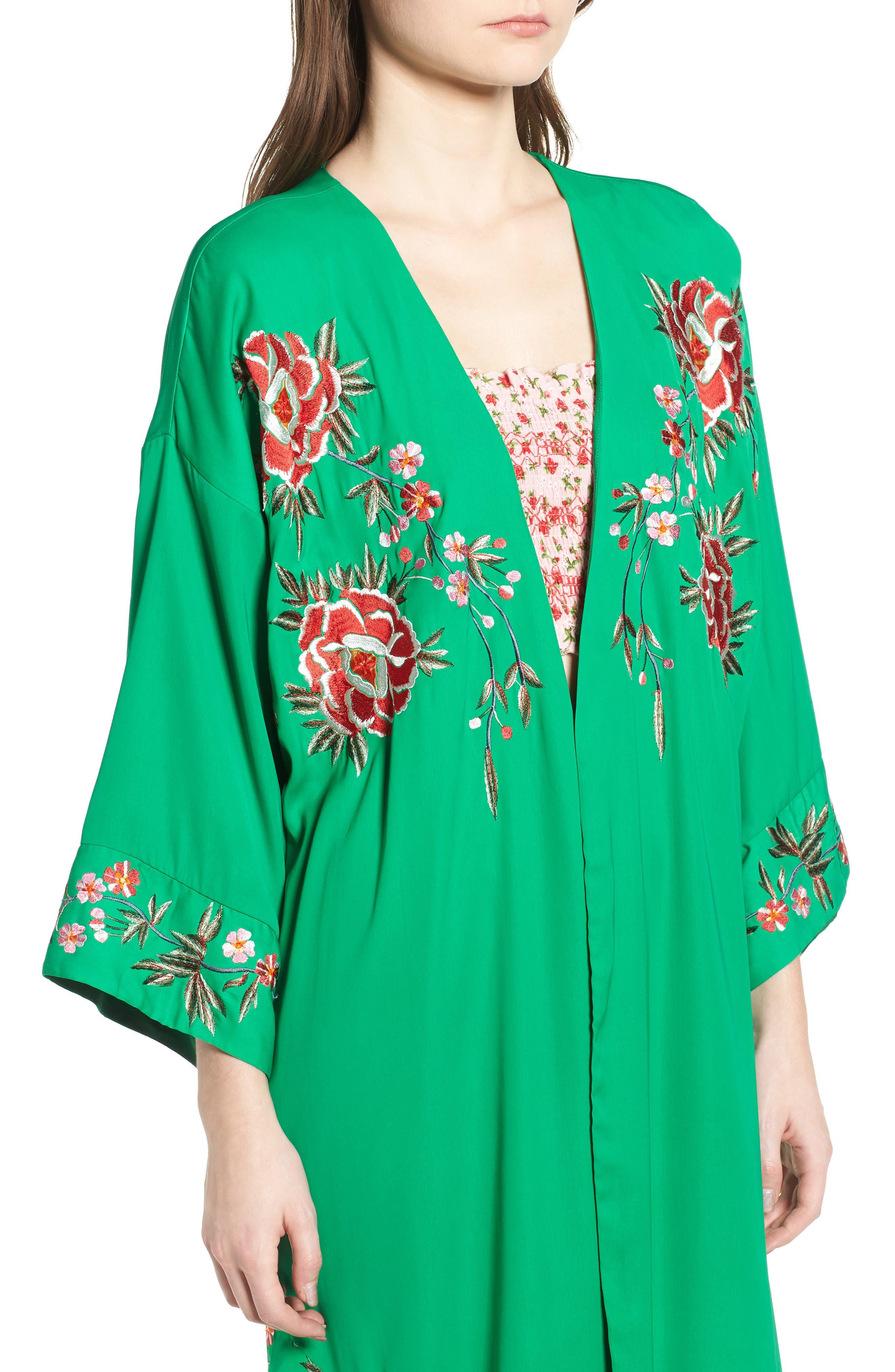 Floral Kimono,                             Alternate thumbnail 4, color,                             Green Multi