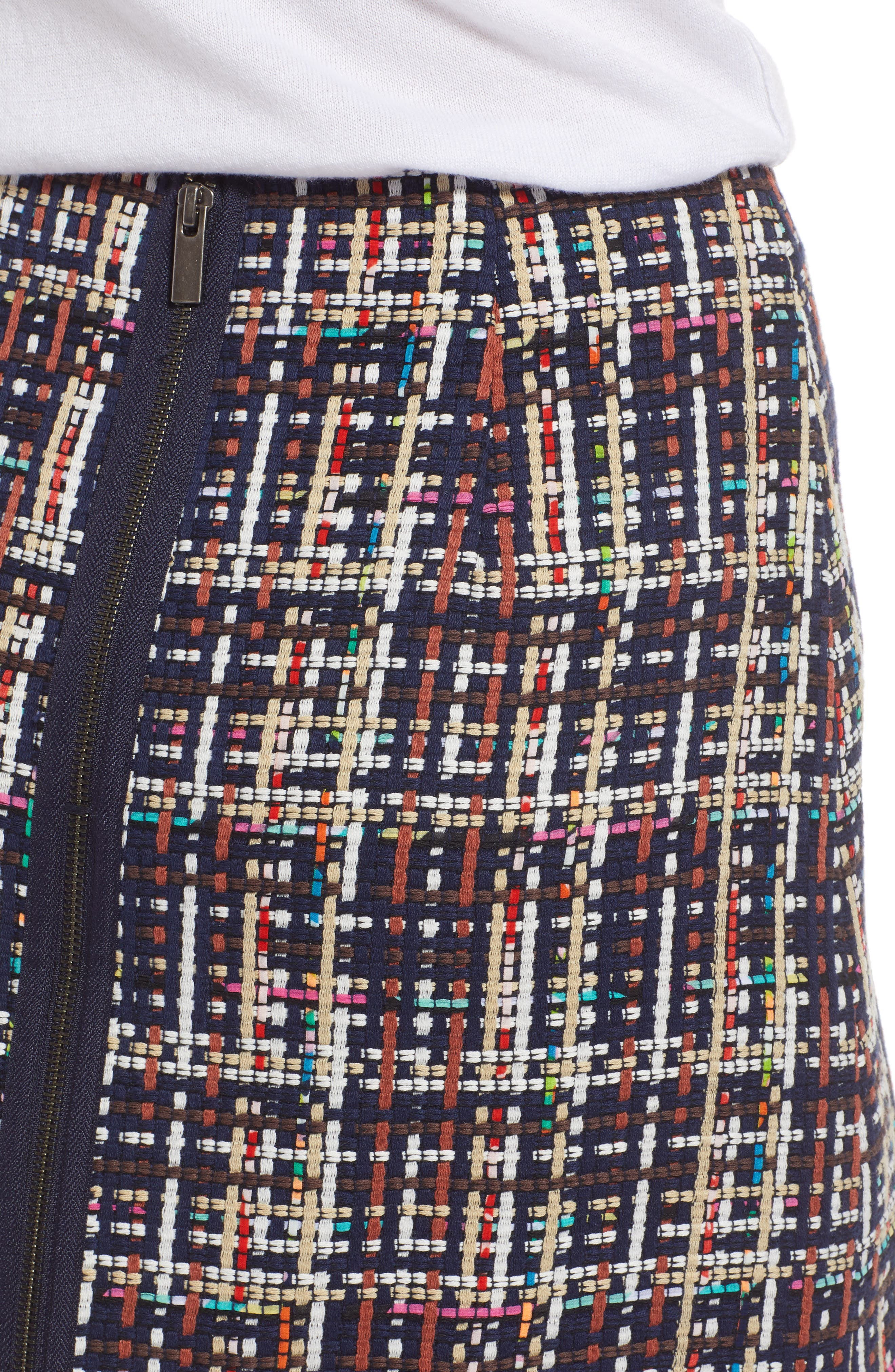Tweed Mini Skirt,                             Alternate thumbnail 4, color,                             Navy Multi Tweed