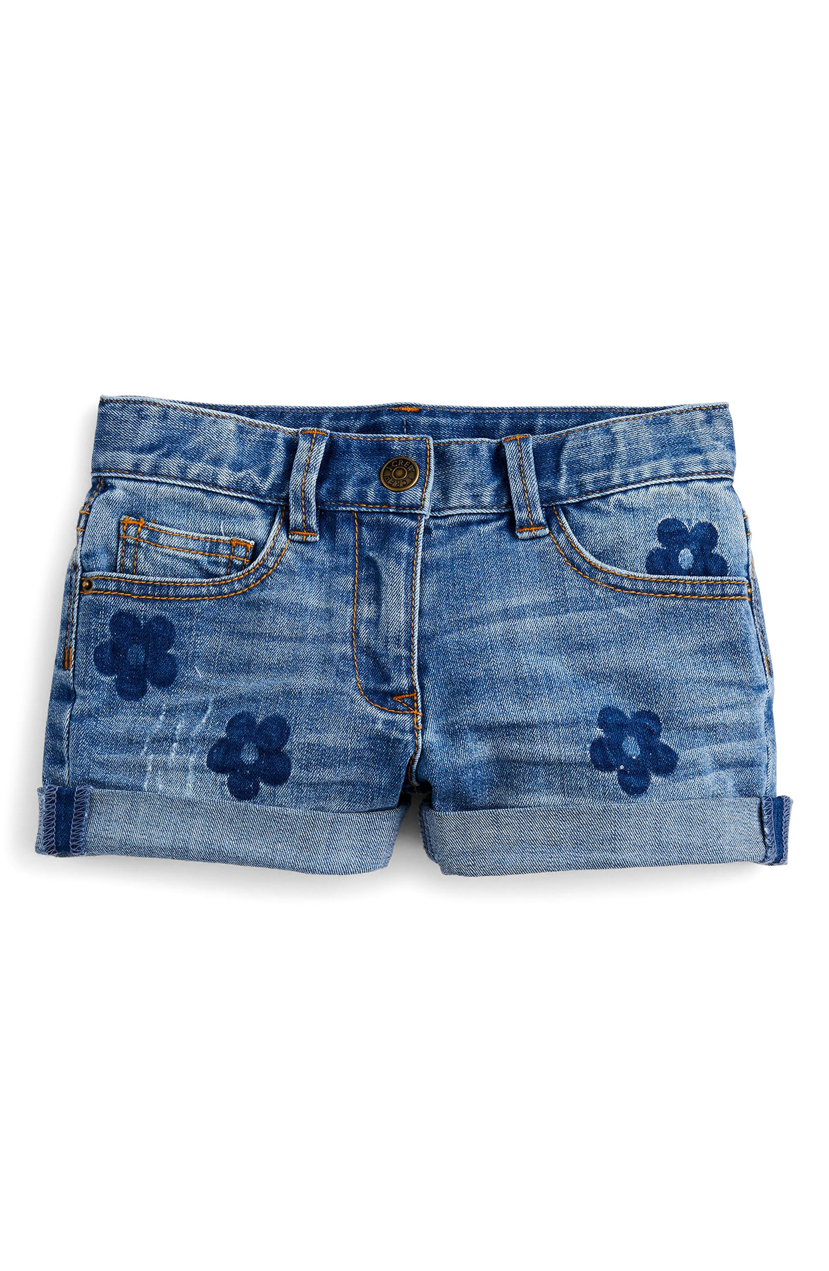 crewcuts by J. Crew Floral Denim Shorts (Toddler Girls, Little Girls & Big Girls)