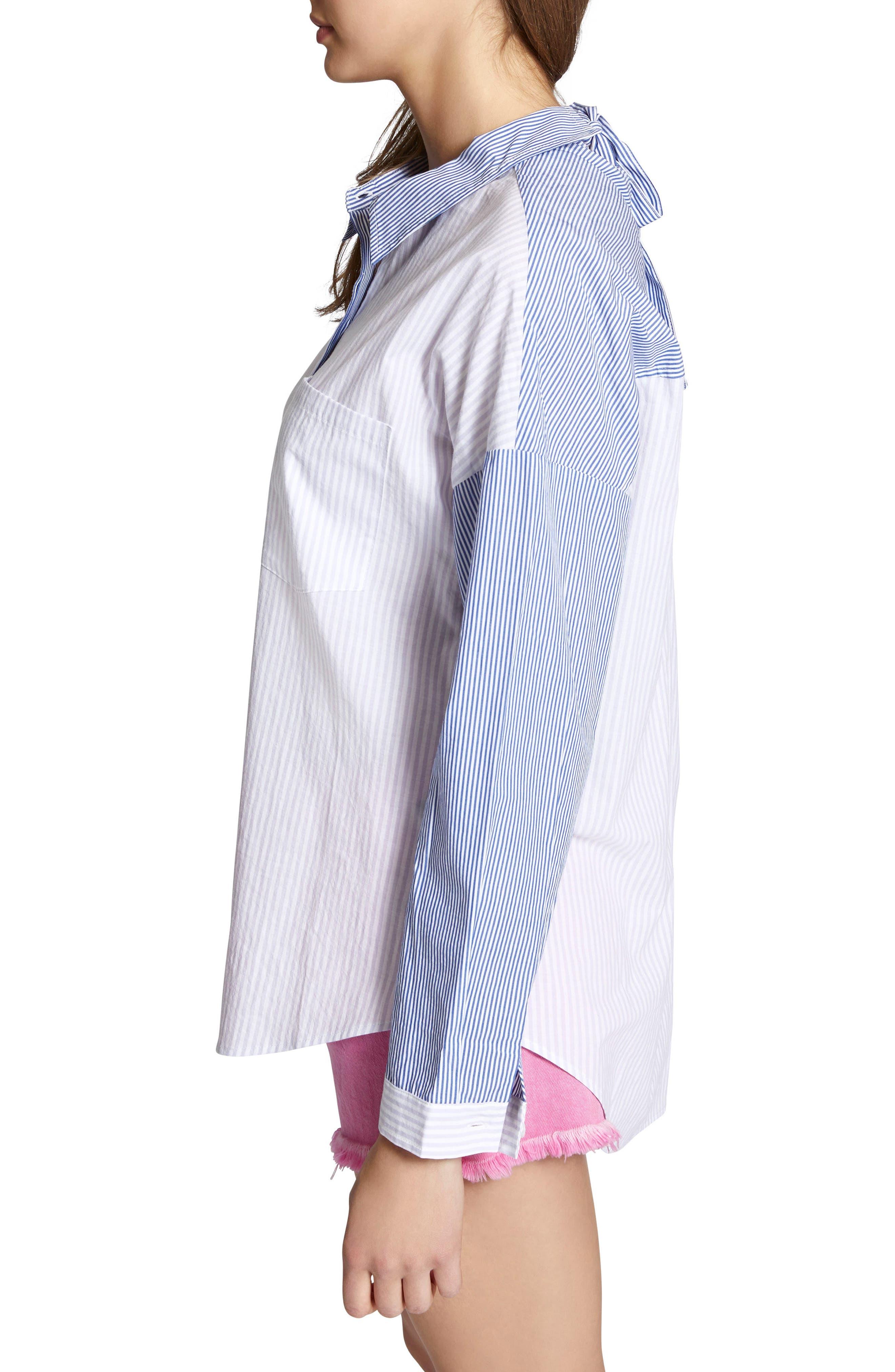 Tie Back Mixed Stripe Boyfrend Shirt,                             Alternate thumbnail 3, color,                             Core Stripe
