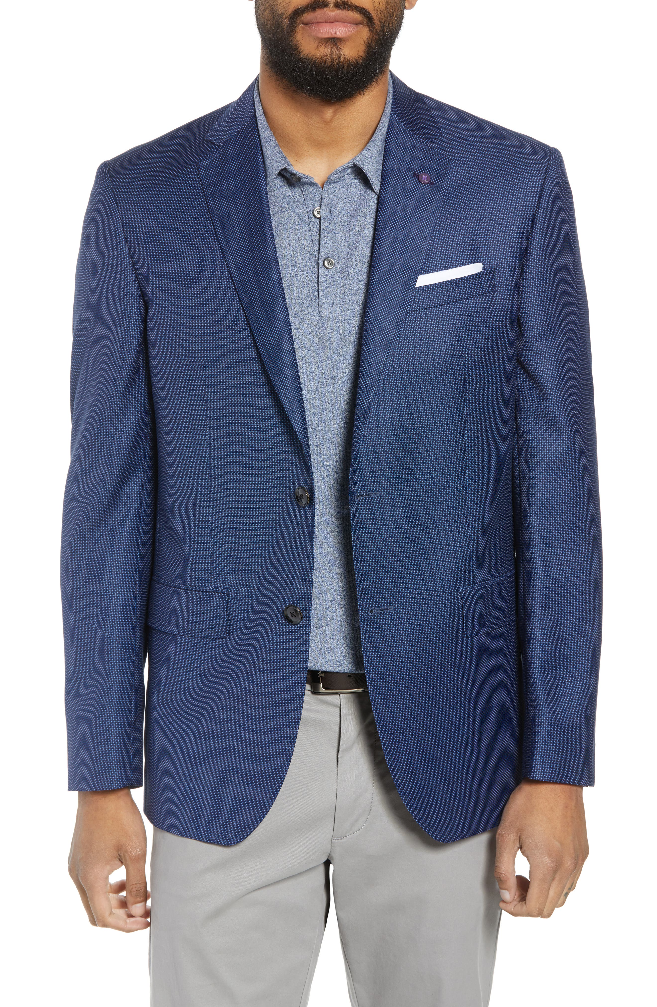 Jay Trim Fit Microdot Wool Sport Coat,                         Main,                         color, Blue