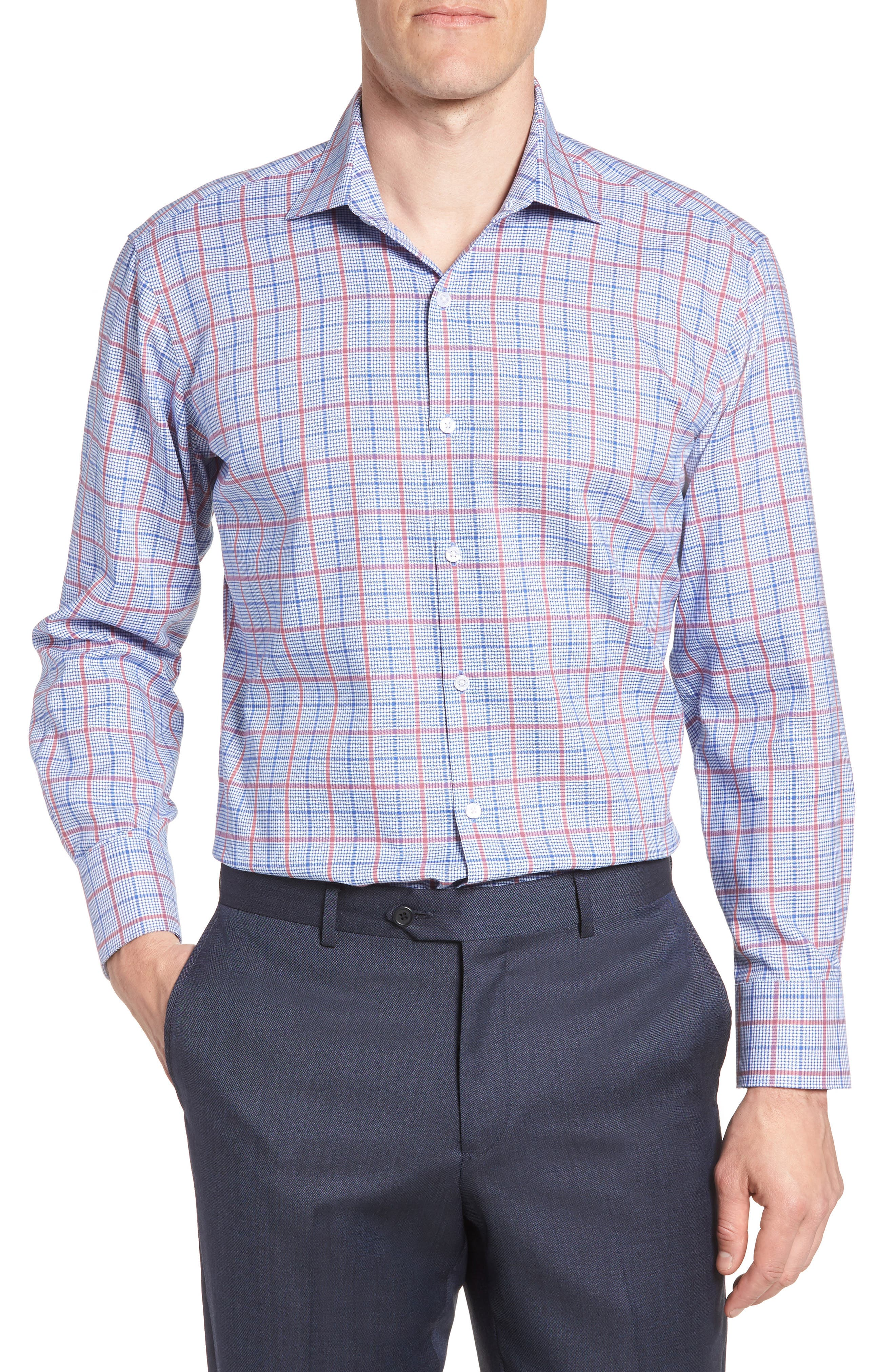Kai Trim Fit Check Dress Shirt,                         Main,                         color, Red/ Blue