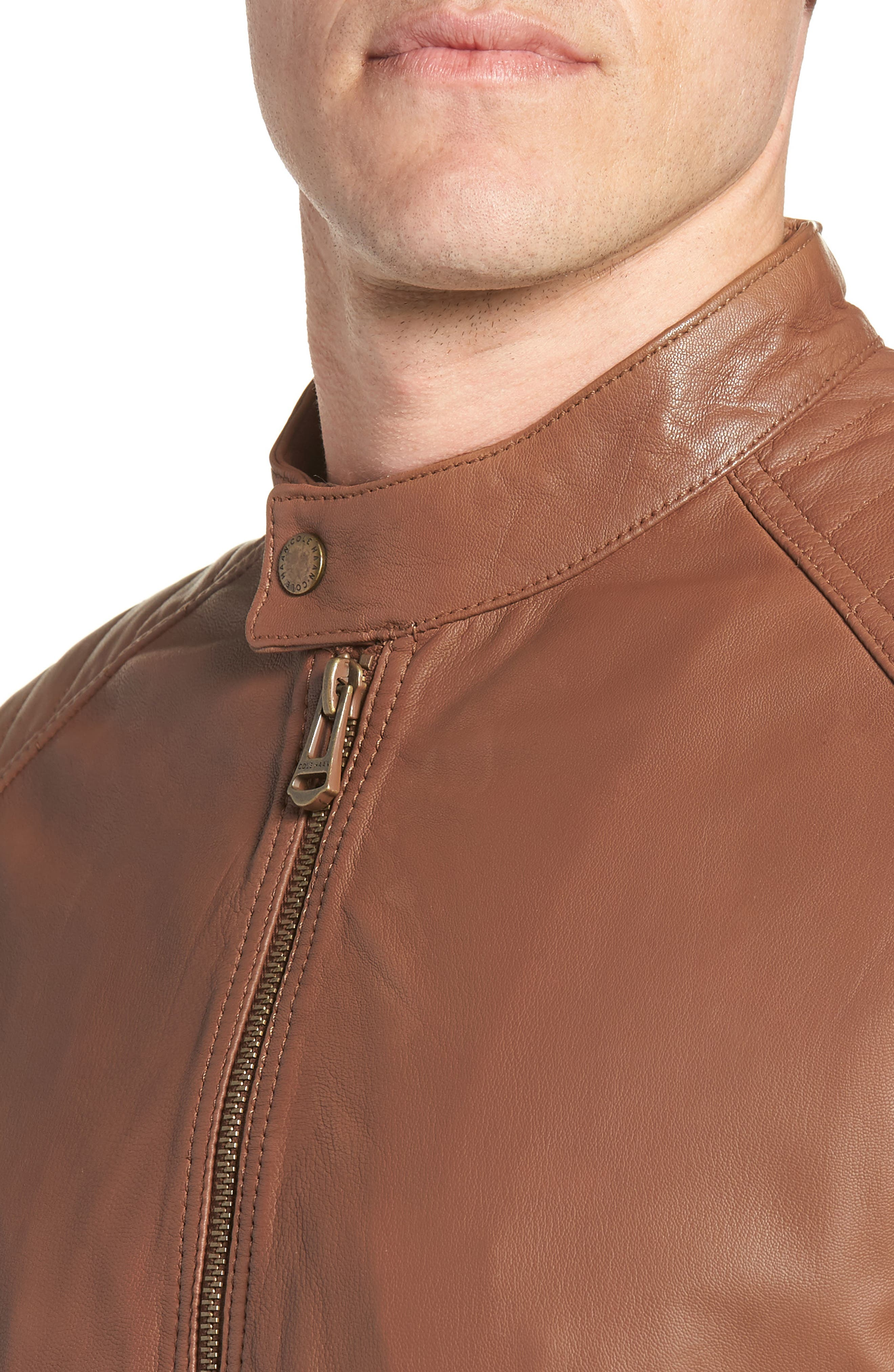 Washed Leather Moto Jacket,                             Alternate thumbnail 4, color,                             Cognac