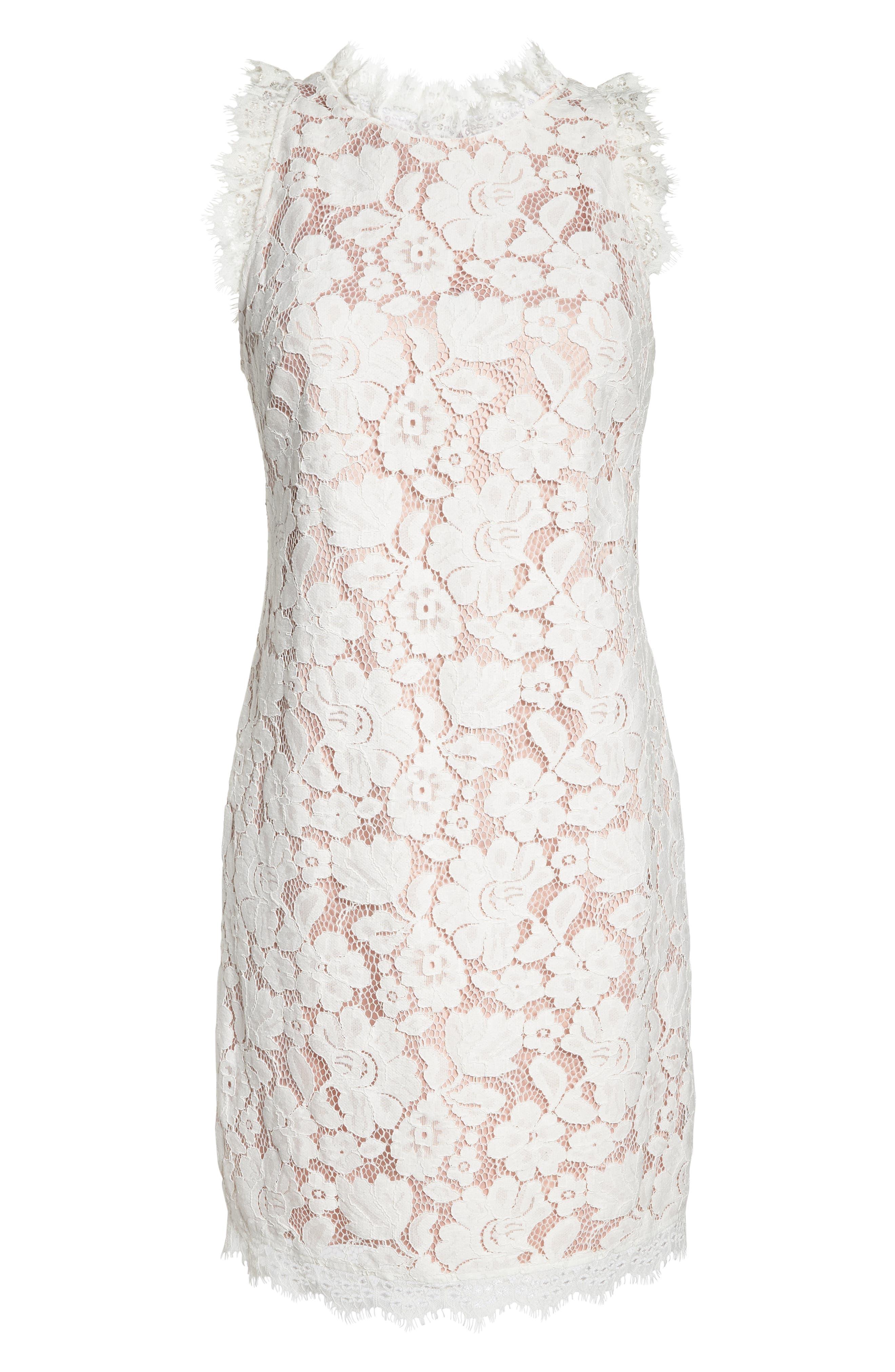 Sleeveless Eyelash Lace Sheath Dress,                             Alternate thumbnail 7, color,                             Cream