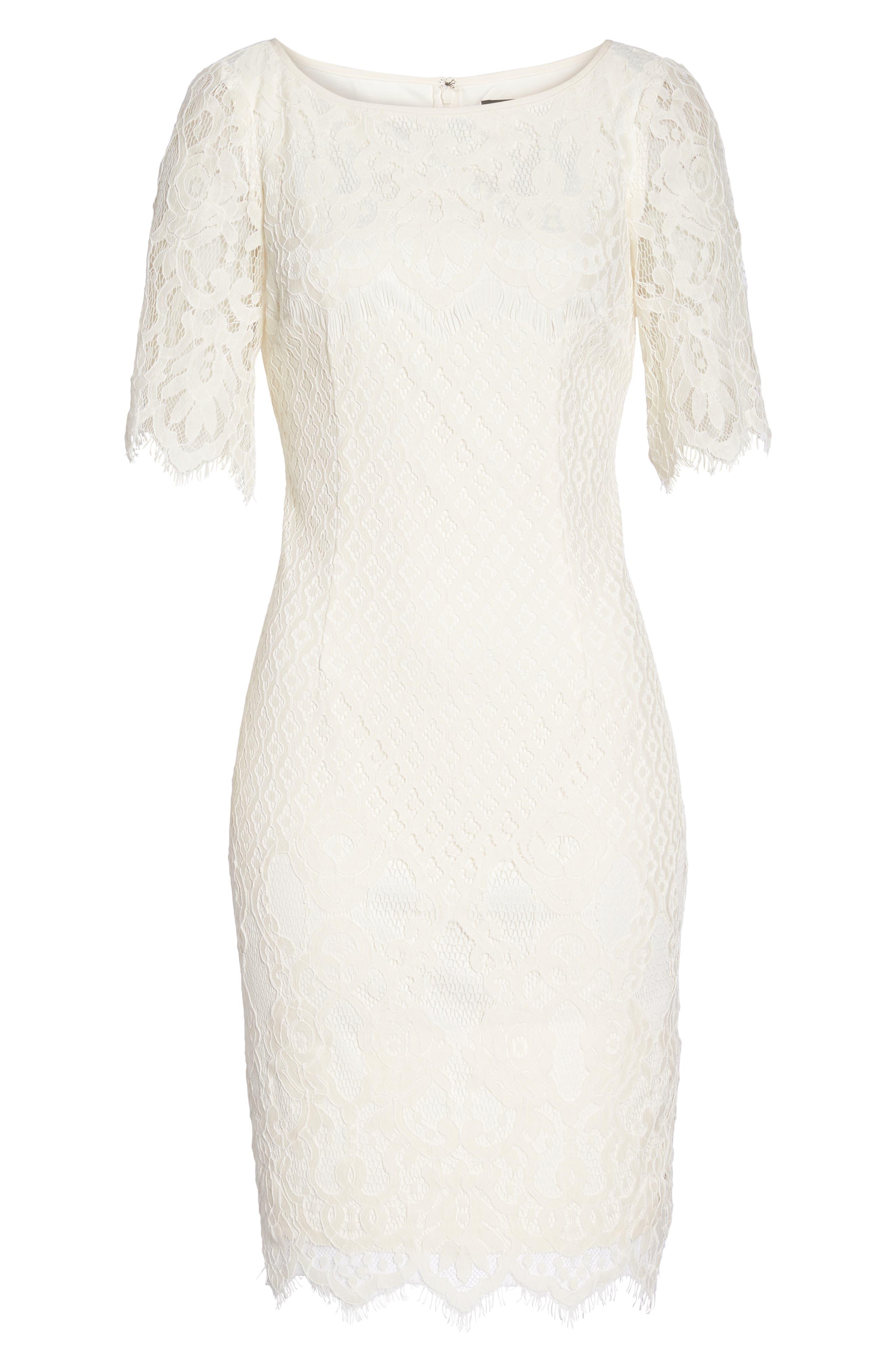 Georgia Scalloped Lace Sheath Dress,                             Alternate thumbnail 7, color,                             Ivory