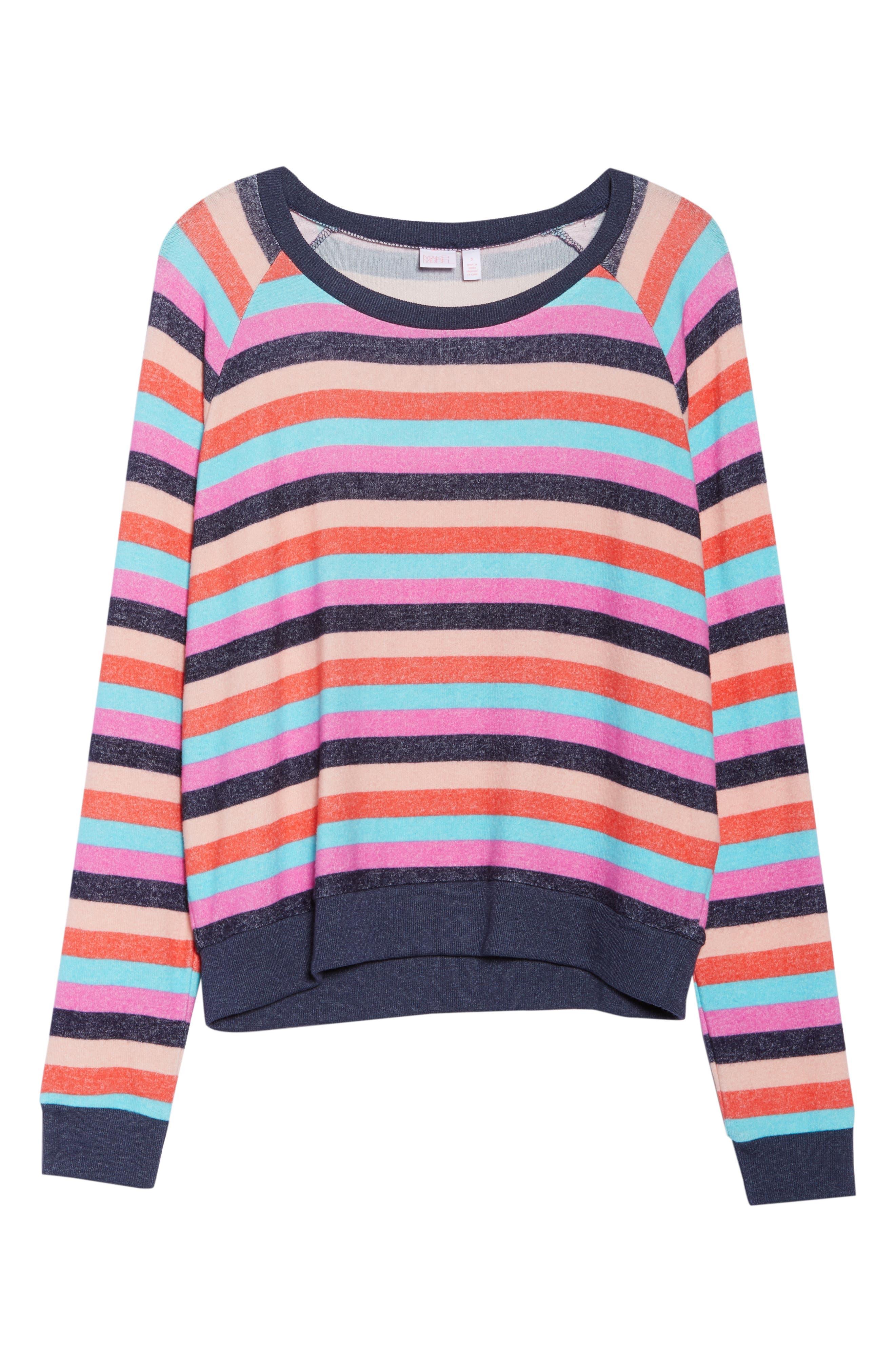Cozy Crew Raglan Sweatshirt,                             Alternate thumbnail 6, color,                             Navy Dusk Milli Multi Stripe