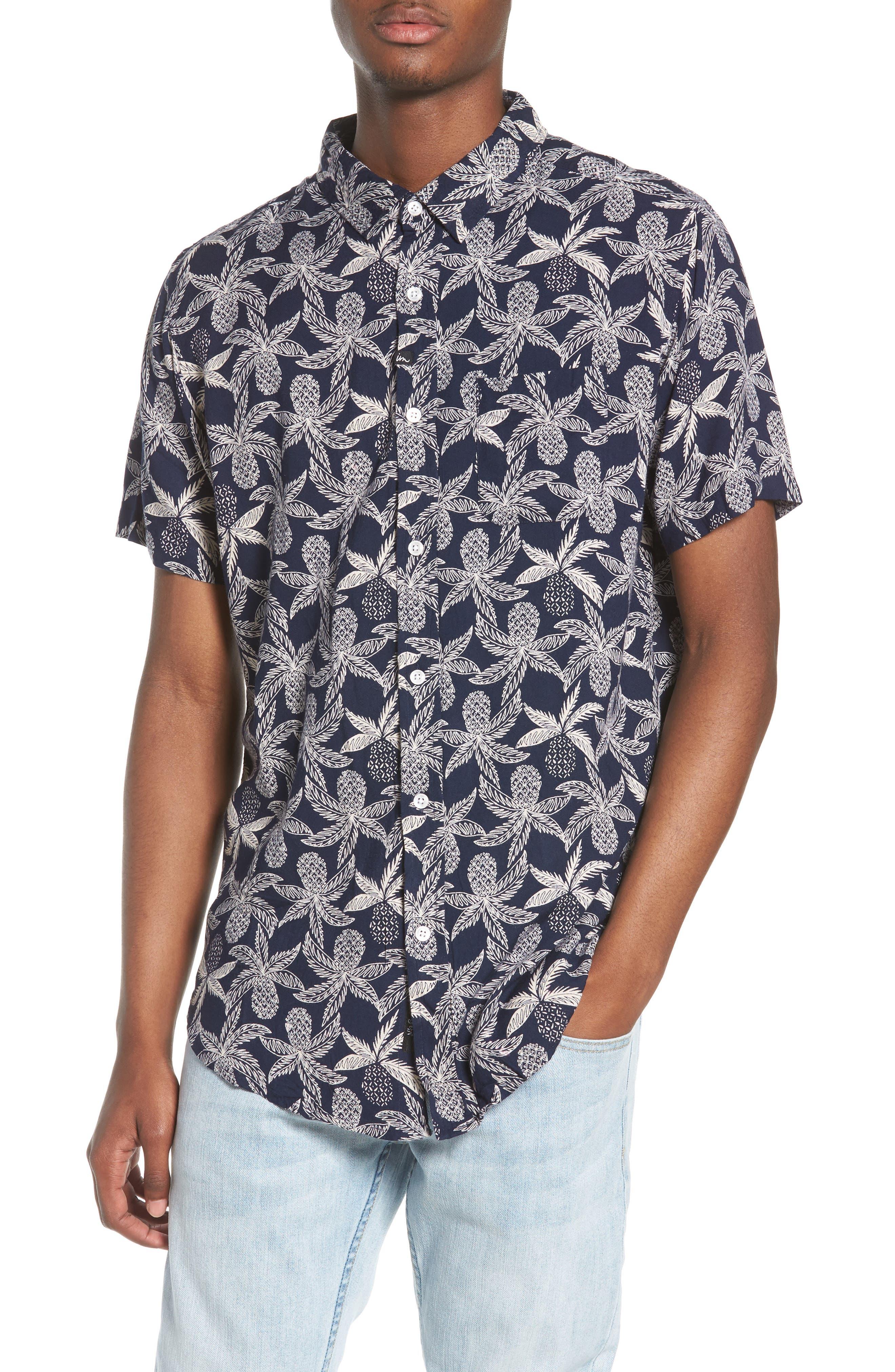 Vacay Woven Shirt,                             Main thumbnail 1, color,                             Navy Multi