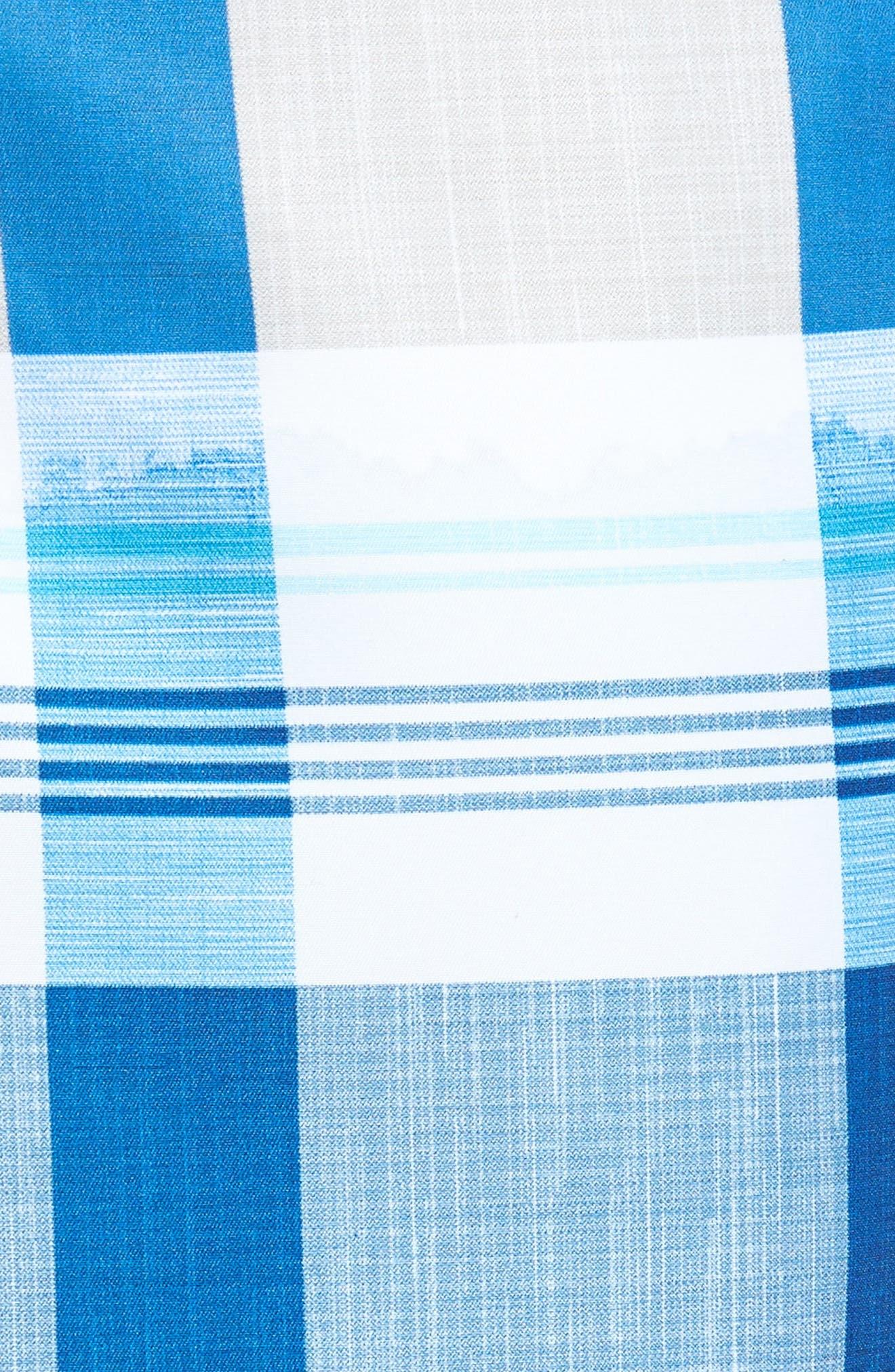 Baja Pomona Plaid Board Shorts,                             Alternate thumbnail 5, color,                             Ocean Deep