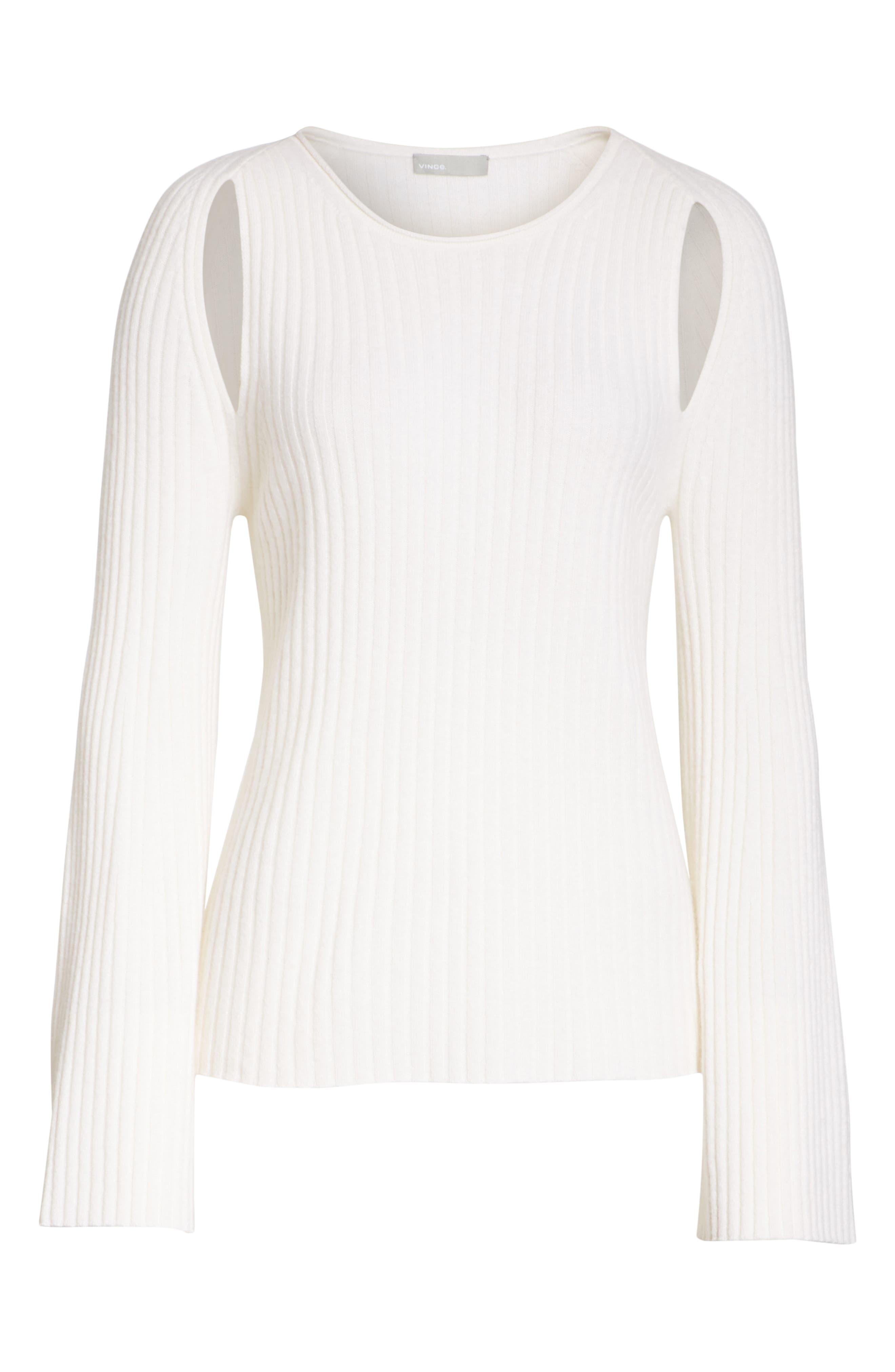 Shoulder Slit Cashmere Crewneck Sweater,                             Alternate thumbnail 6, color,                             Off White