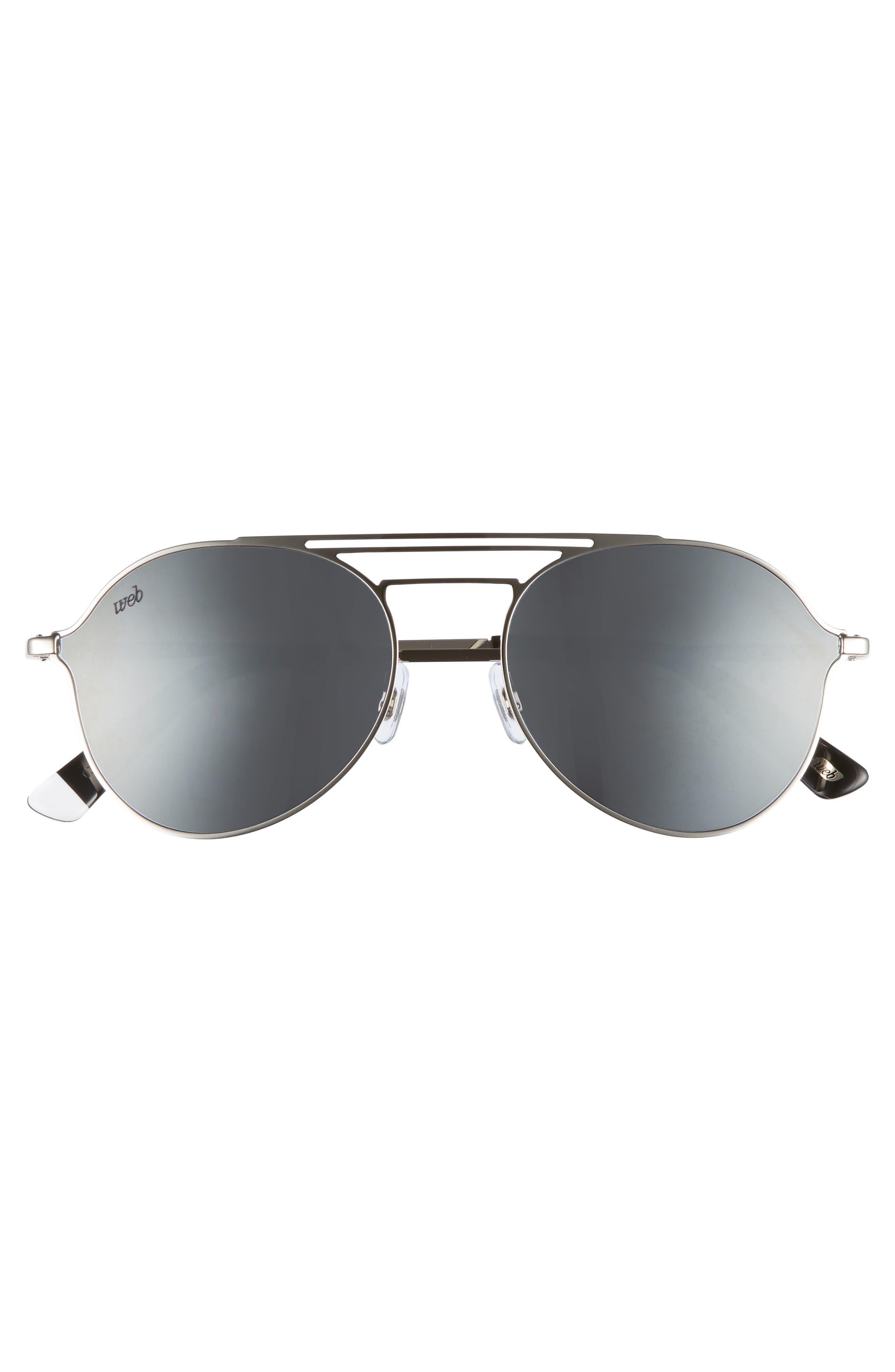 56mm Aviator Sunglasses,                             Alternate thumbnail 3, color,                             Shiny Palladium/ Smoke Mirror