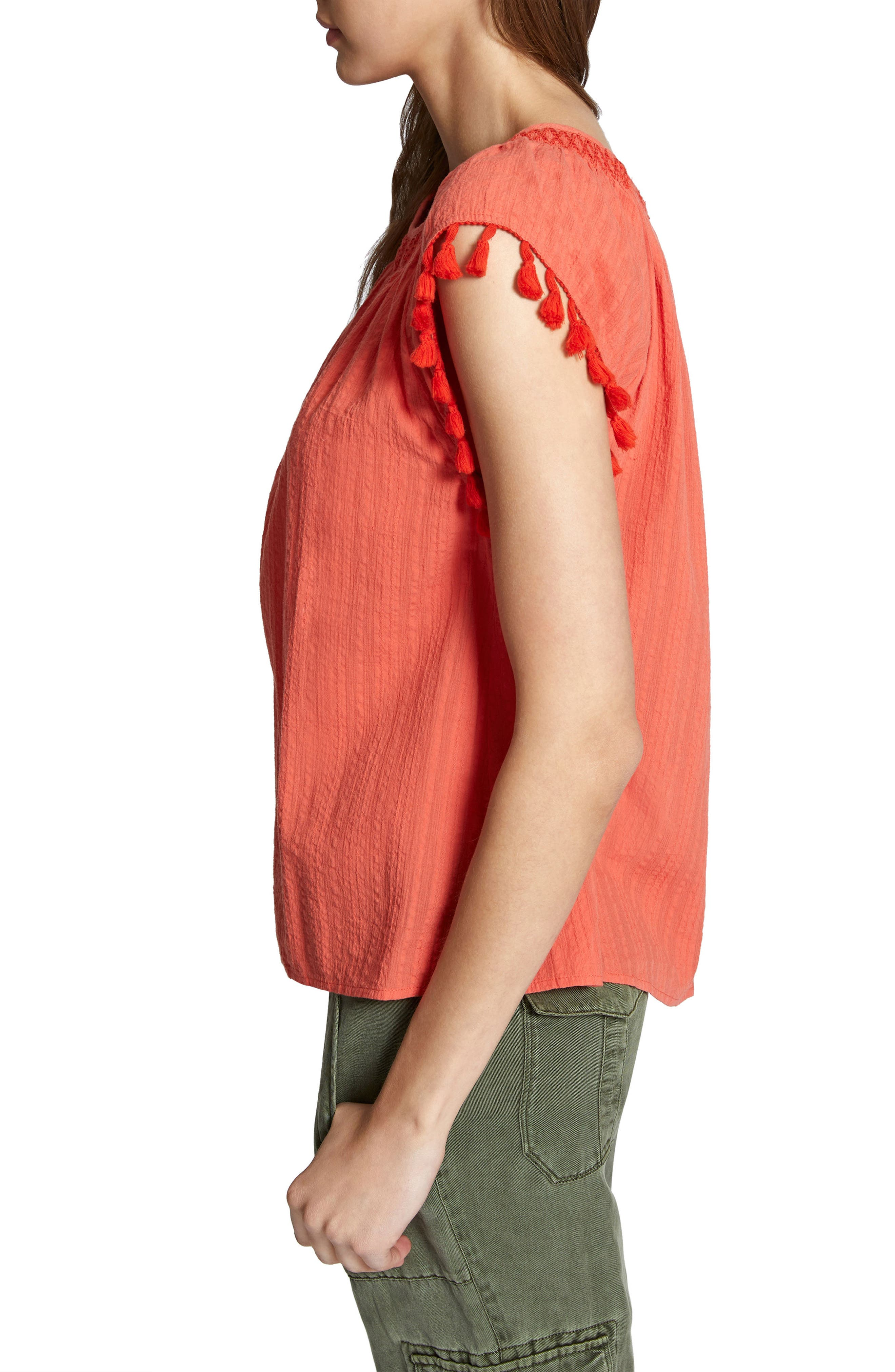 Gobi Tassel Top,                             Alternate thumbnail 3, color,                             Chili