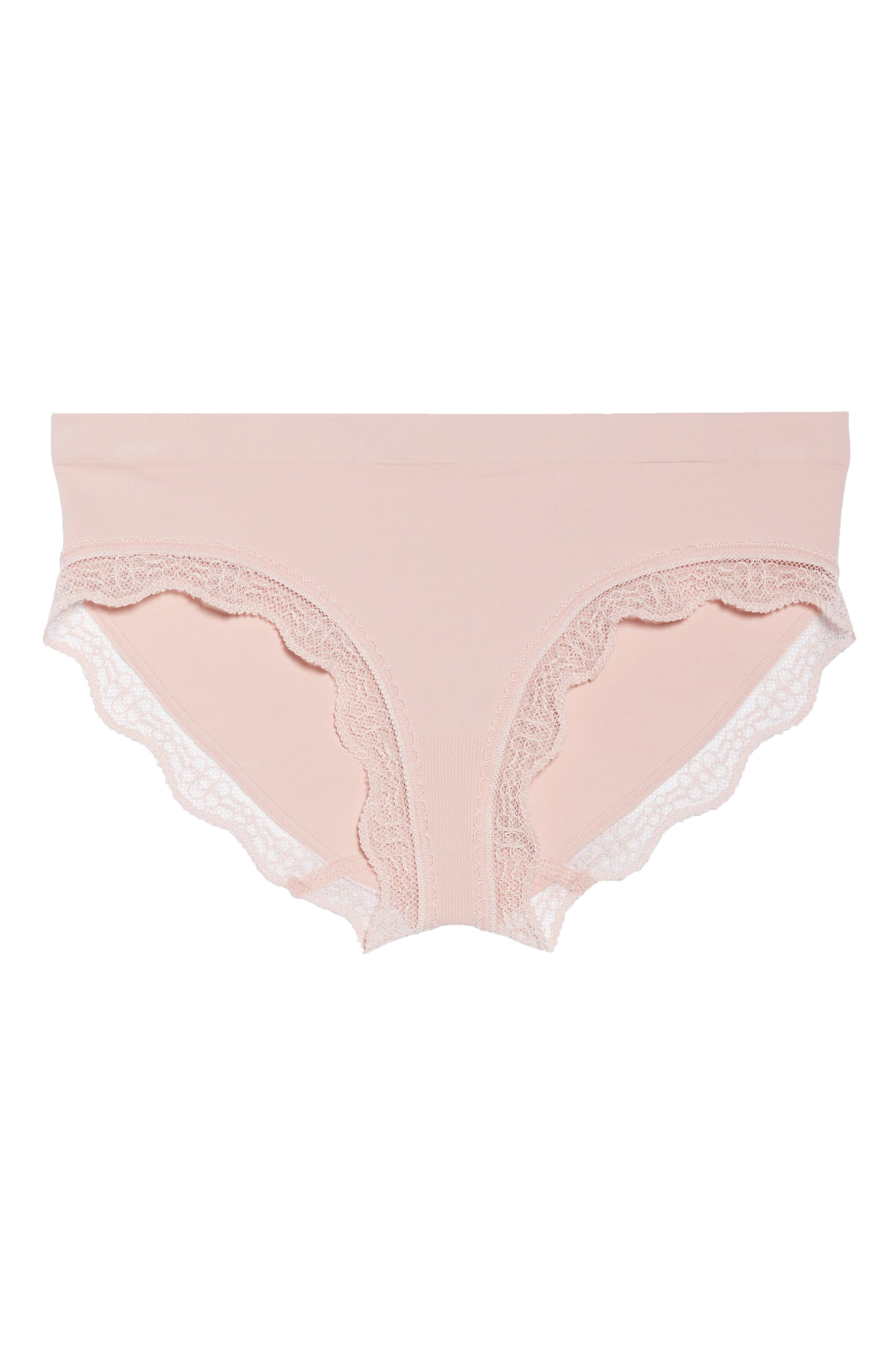 Lace Trim Seamless Hipster Briefs,                             Alternate thumbnail 6, color,                             Pink Silver