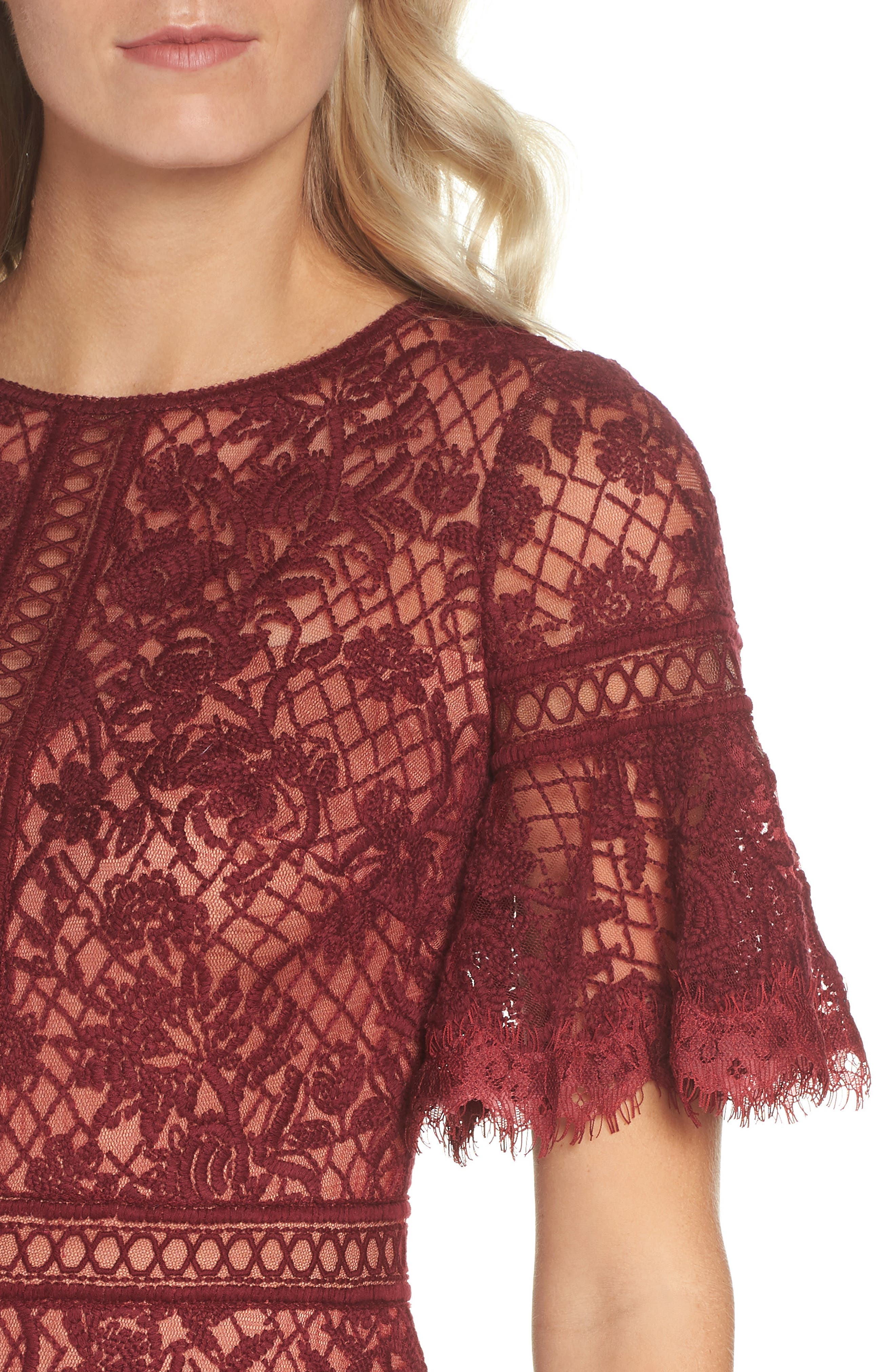 Embroidered Mesh Dress,                             Alternate thumbnail 4, color,                             Autumn/ Nude