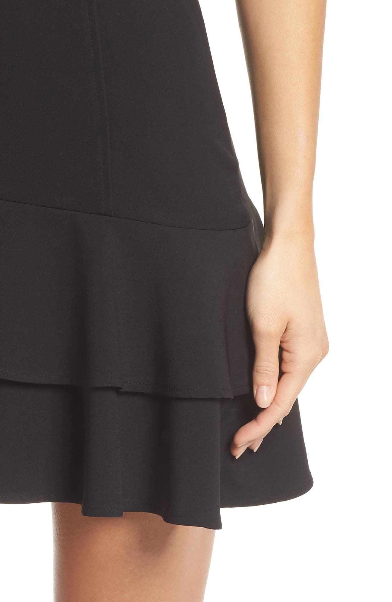Bustier Ruffle Hem Dress,                             Alternate thumbnail 4, color,                             Black