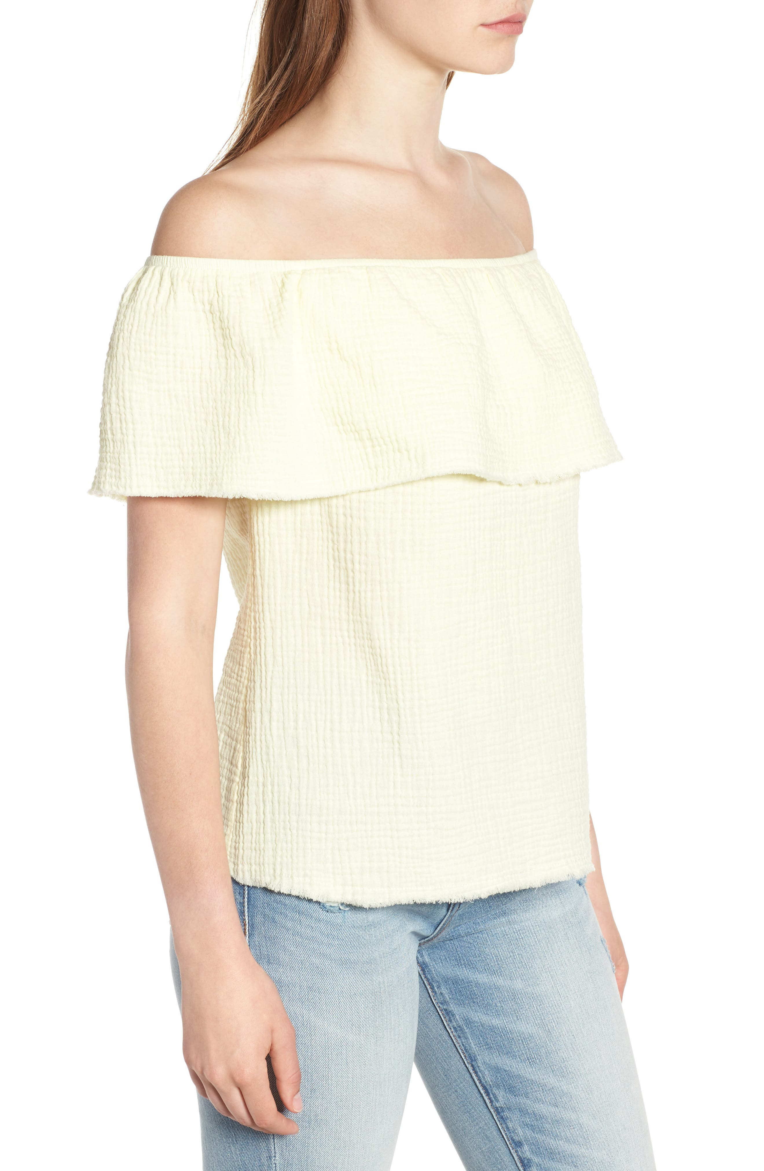 Ruffle Off the Shoulder Top,                             Alternate thumbnail 3, color,                             Yellow