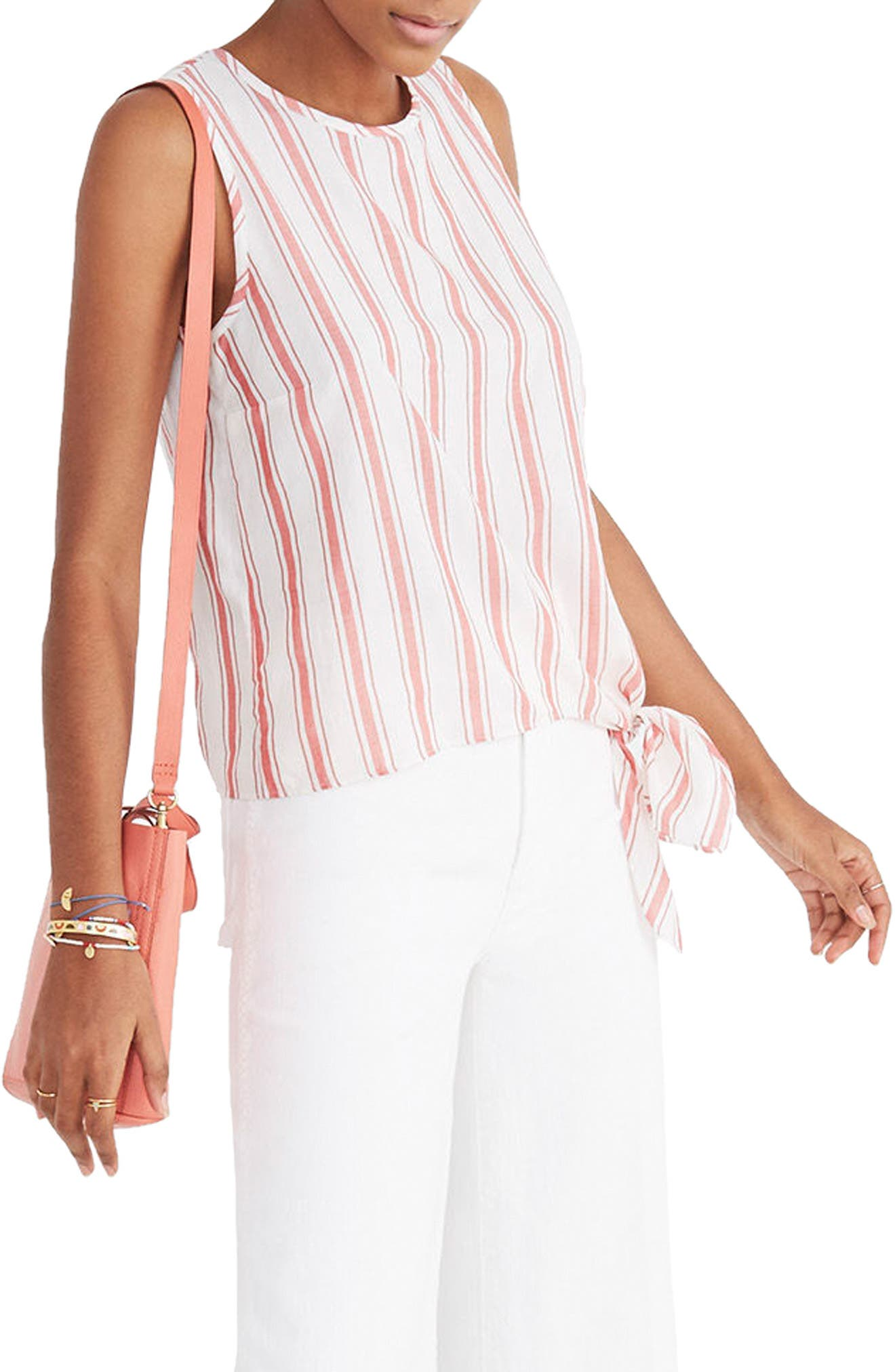 Stripe Side Tie Tank,                             Main thumbnail 1, color,                             Bright Ivory