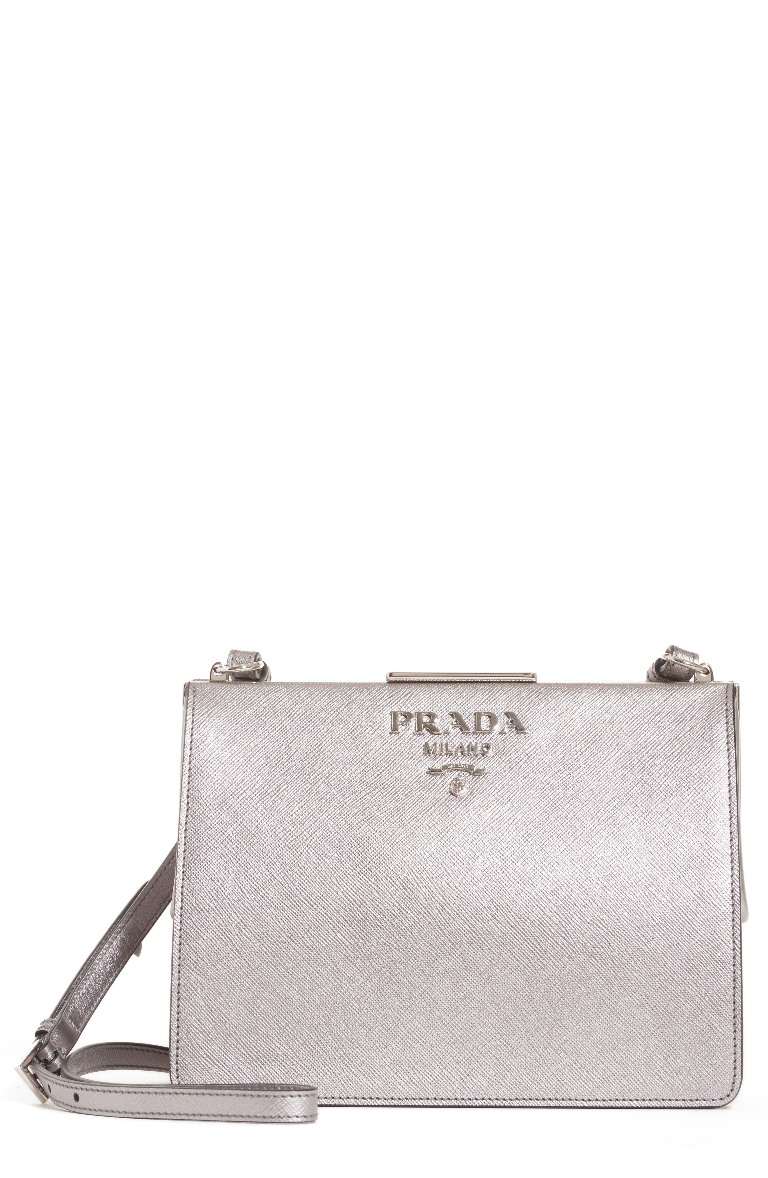 Small Frame Saffiano & City Calfskin Leather Shoulder Bag,                         Main,                         color, Cromo