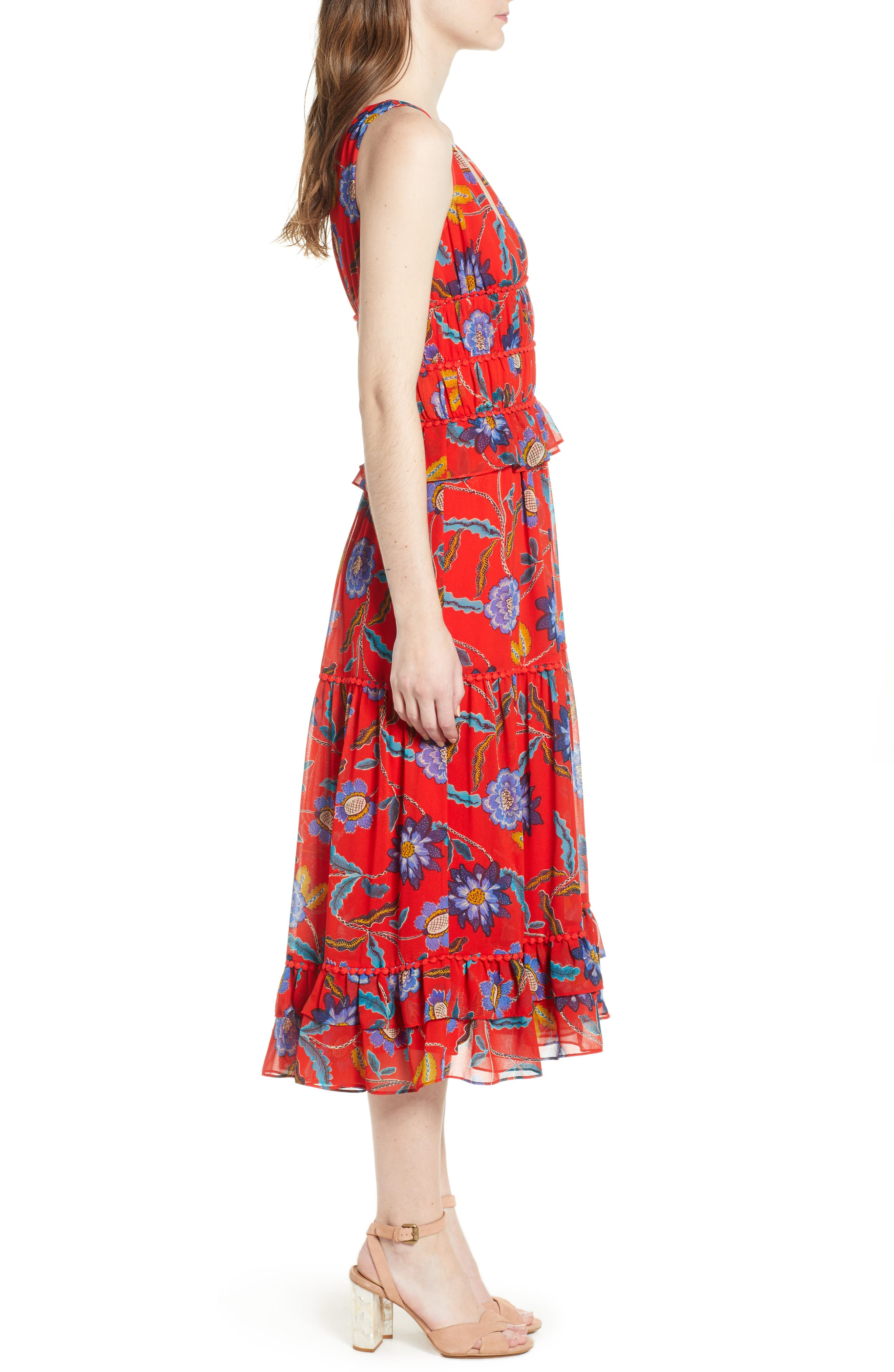 Lucy Floral Dress,                             Alternate thumbnail 3, color,                             Red Multi