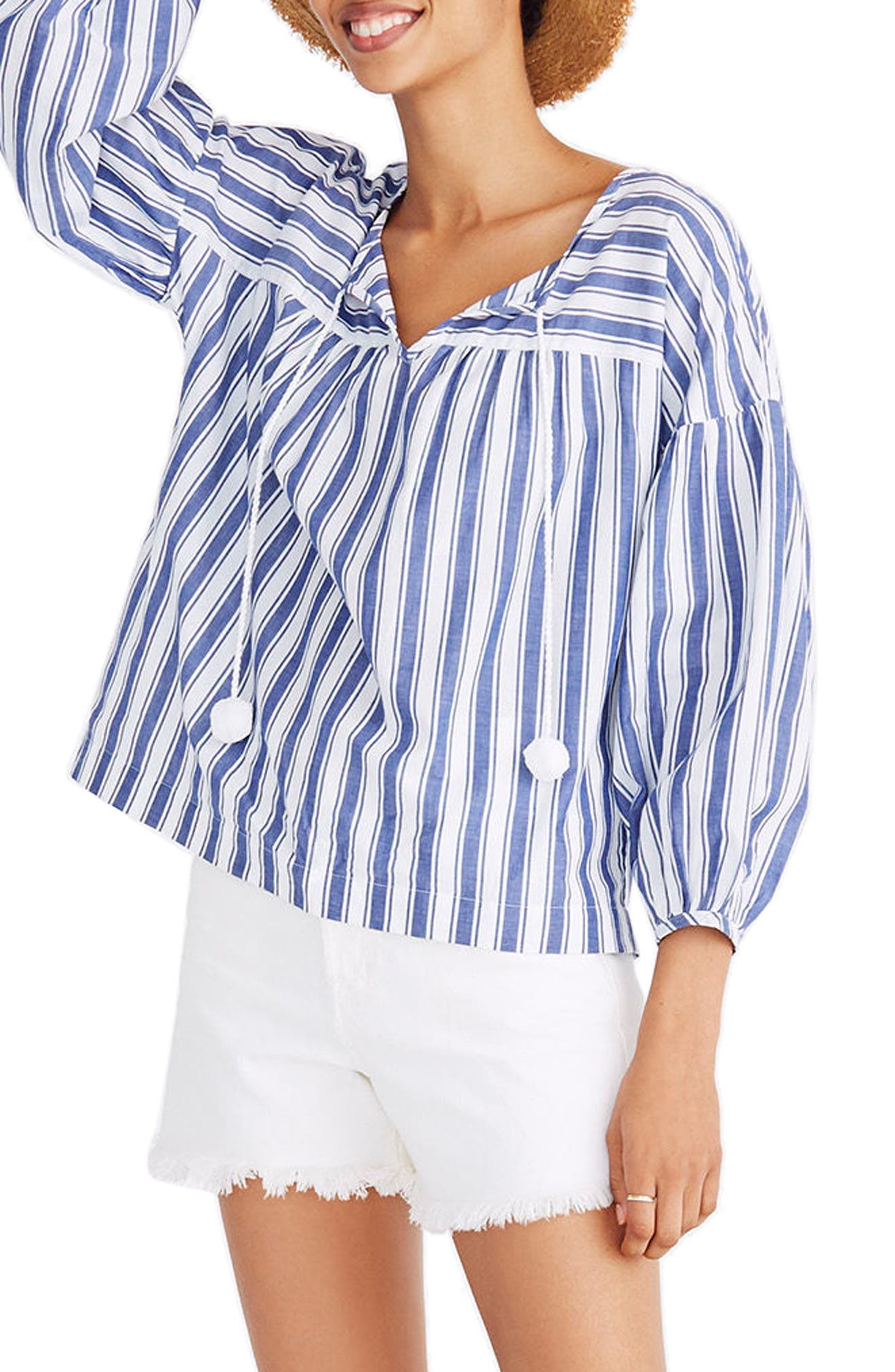 Madewell Stripe Peasant Top