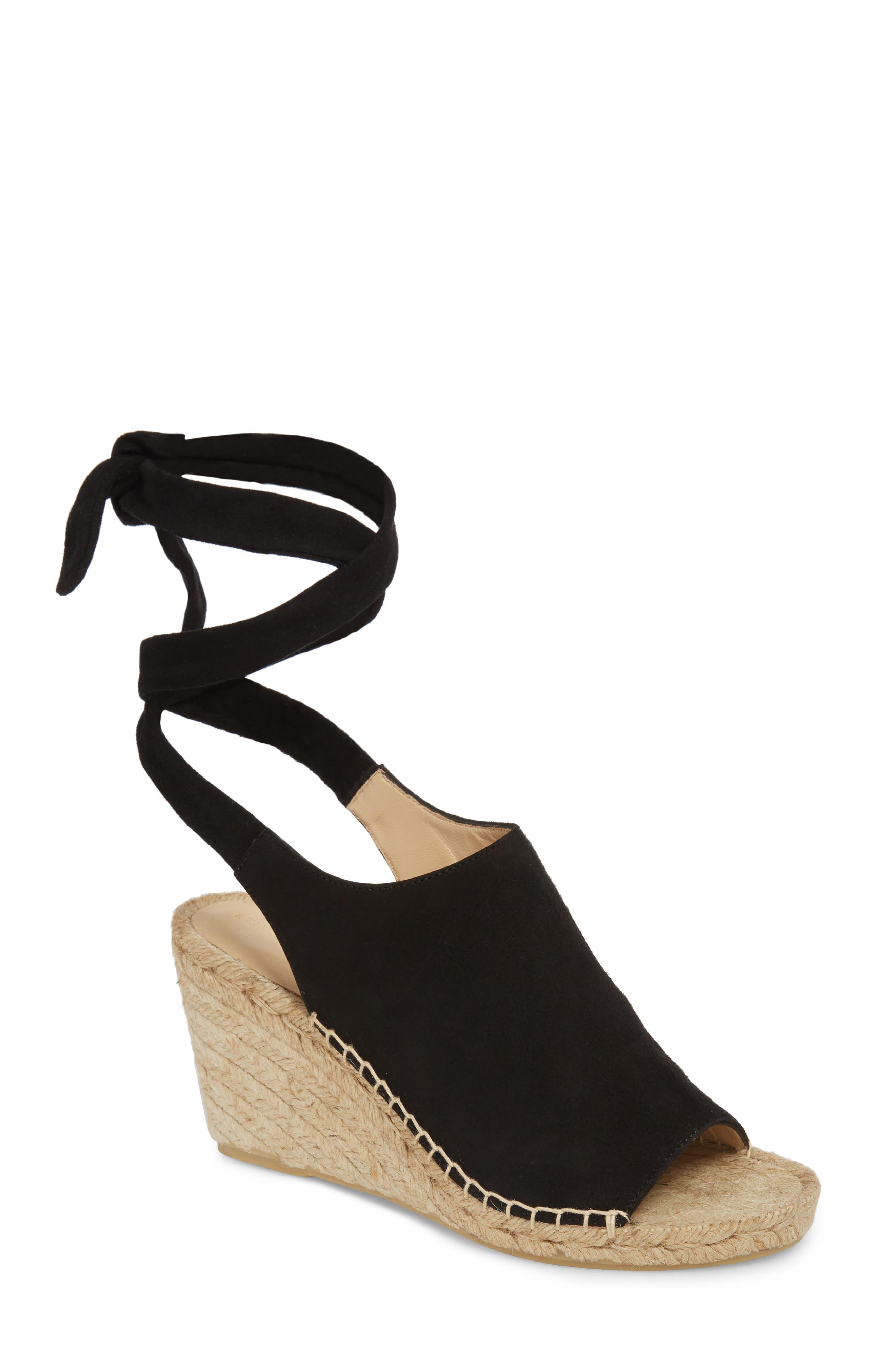 Vie Espadrille Wedge Sandal,                             Main thumbnail 1, color,                             Black Suede