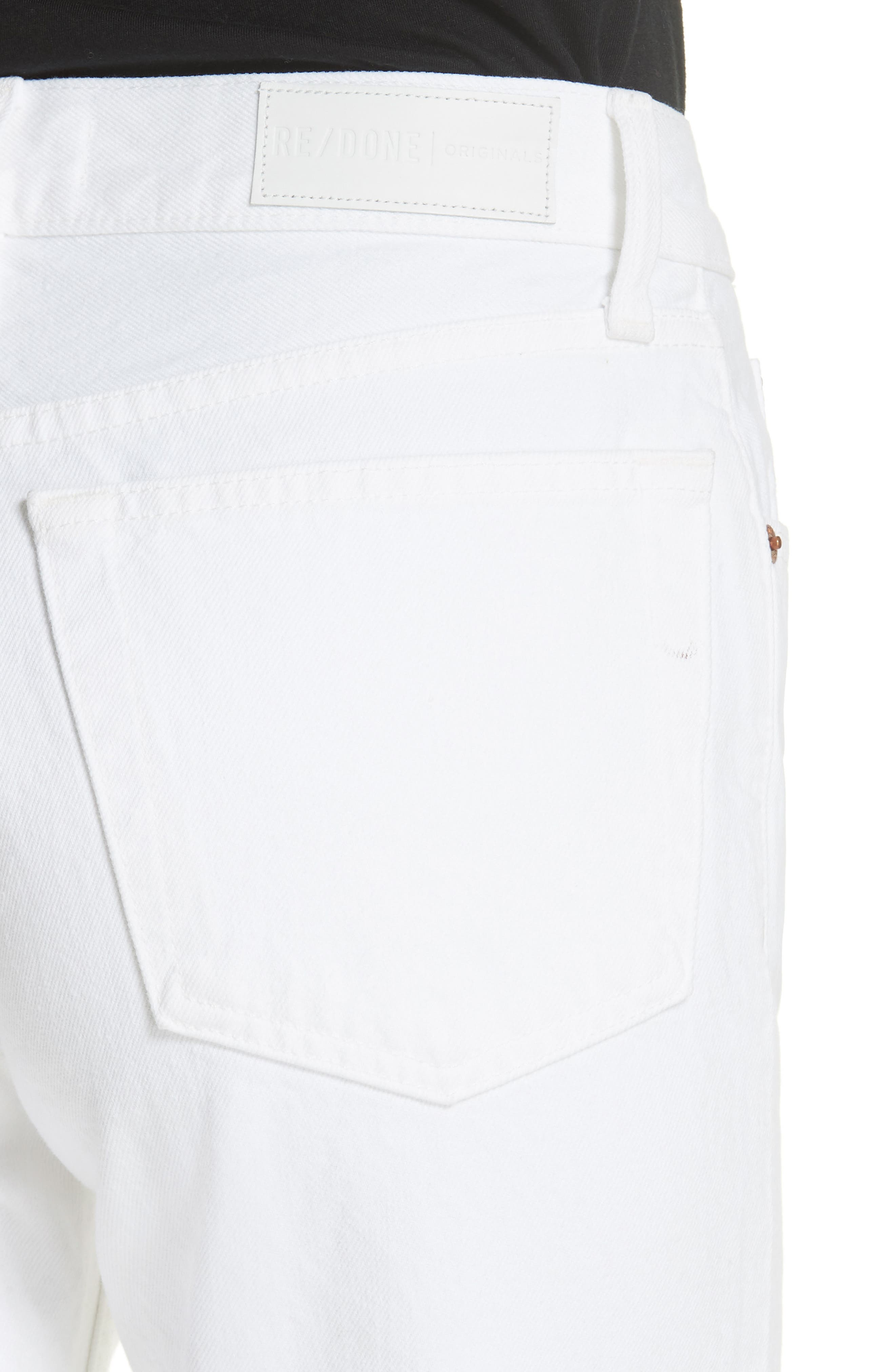 Originals High Waist Stove Pipe Jeans,                             Alternate thumbnail 4, color,                             White