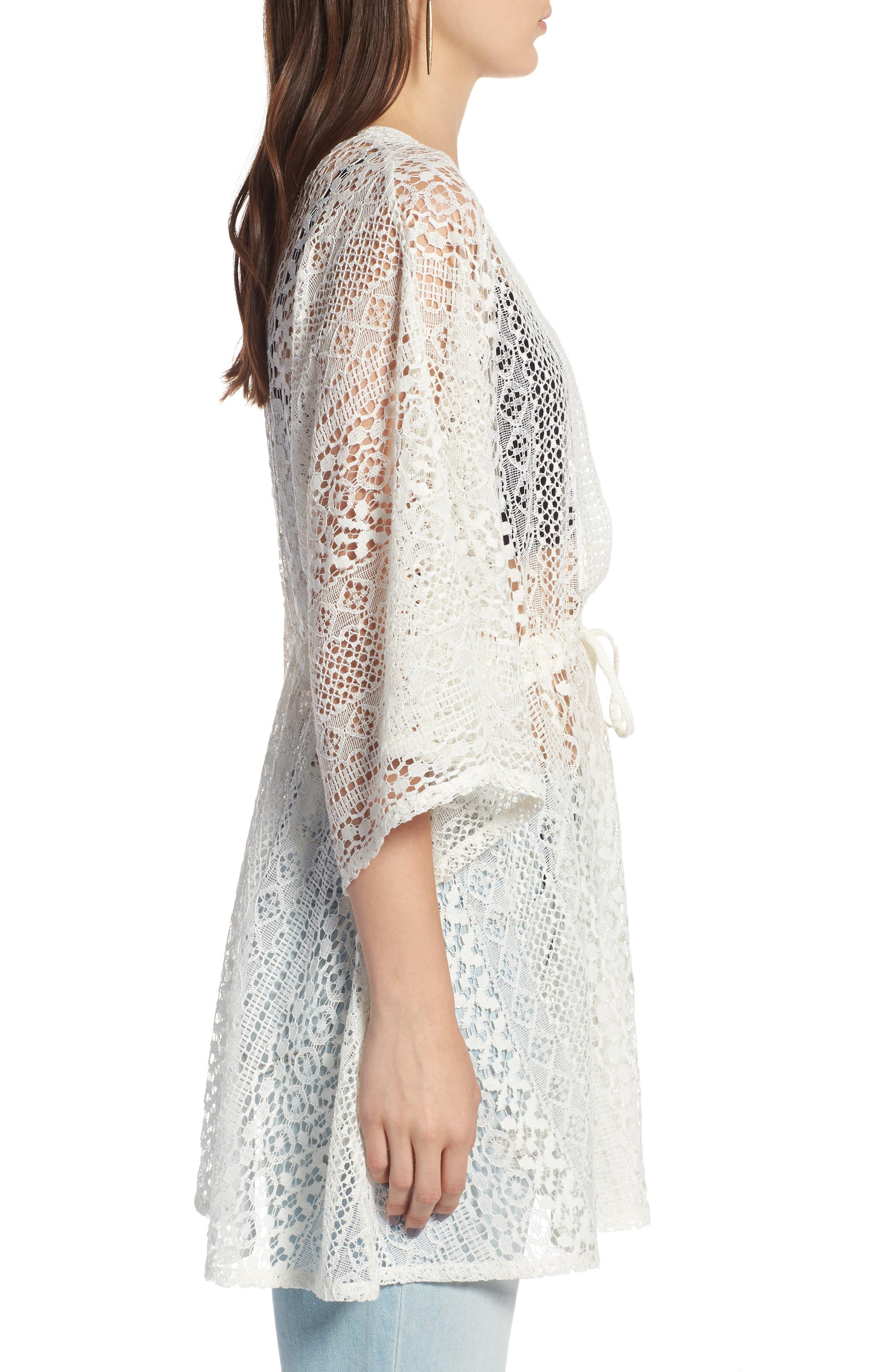 Lace Kimono Pullover,                             Alternate thumbnail 3, color,                             White