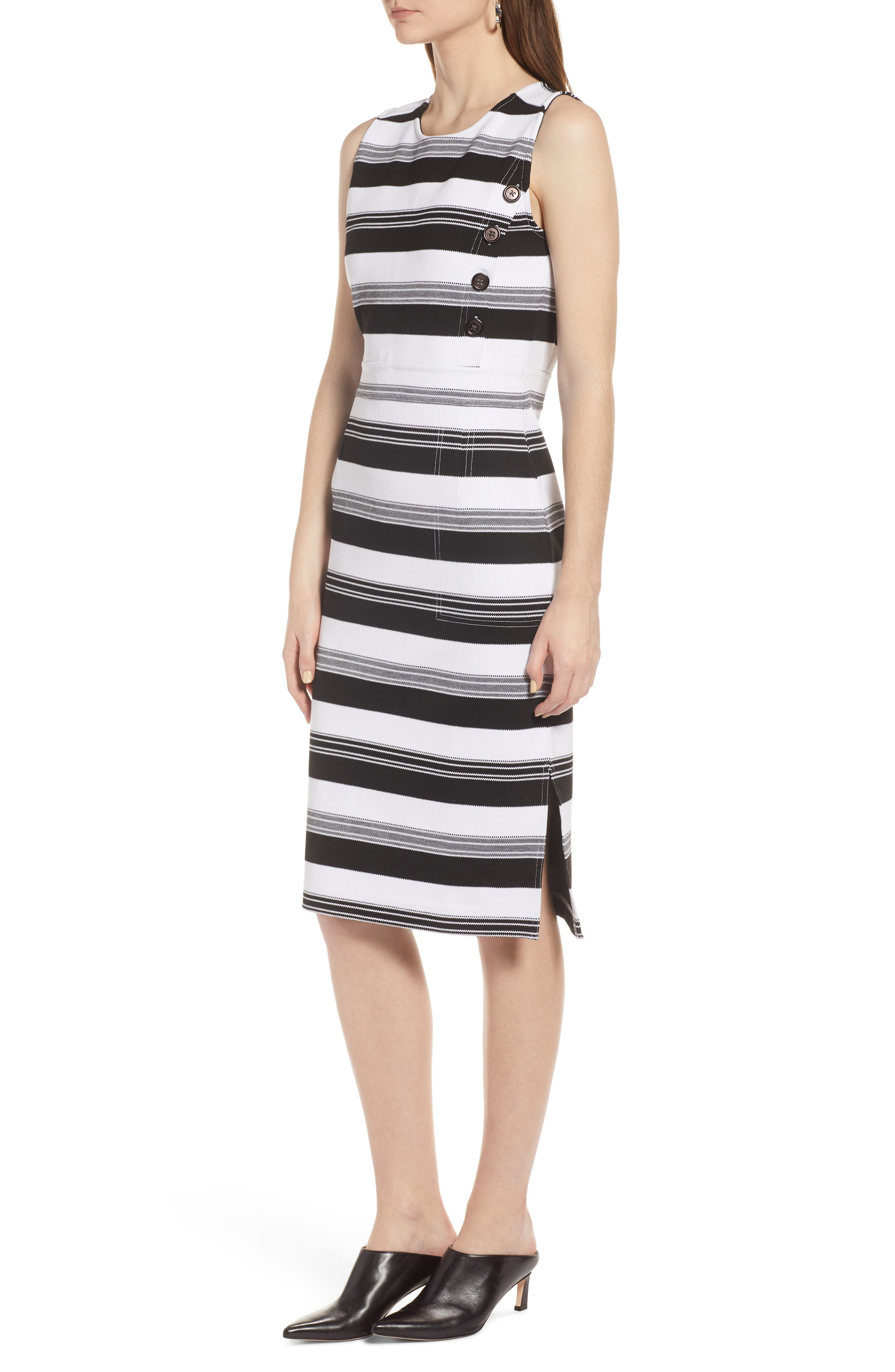 Stripe Knit Dress,                             Alternate thumbnail 3, color,                             Black- Ivory Stripe