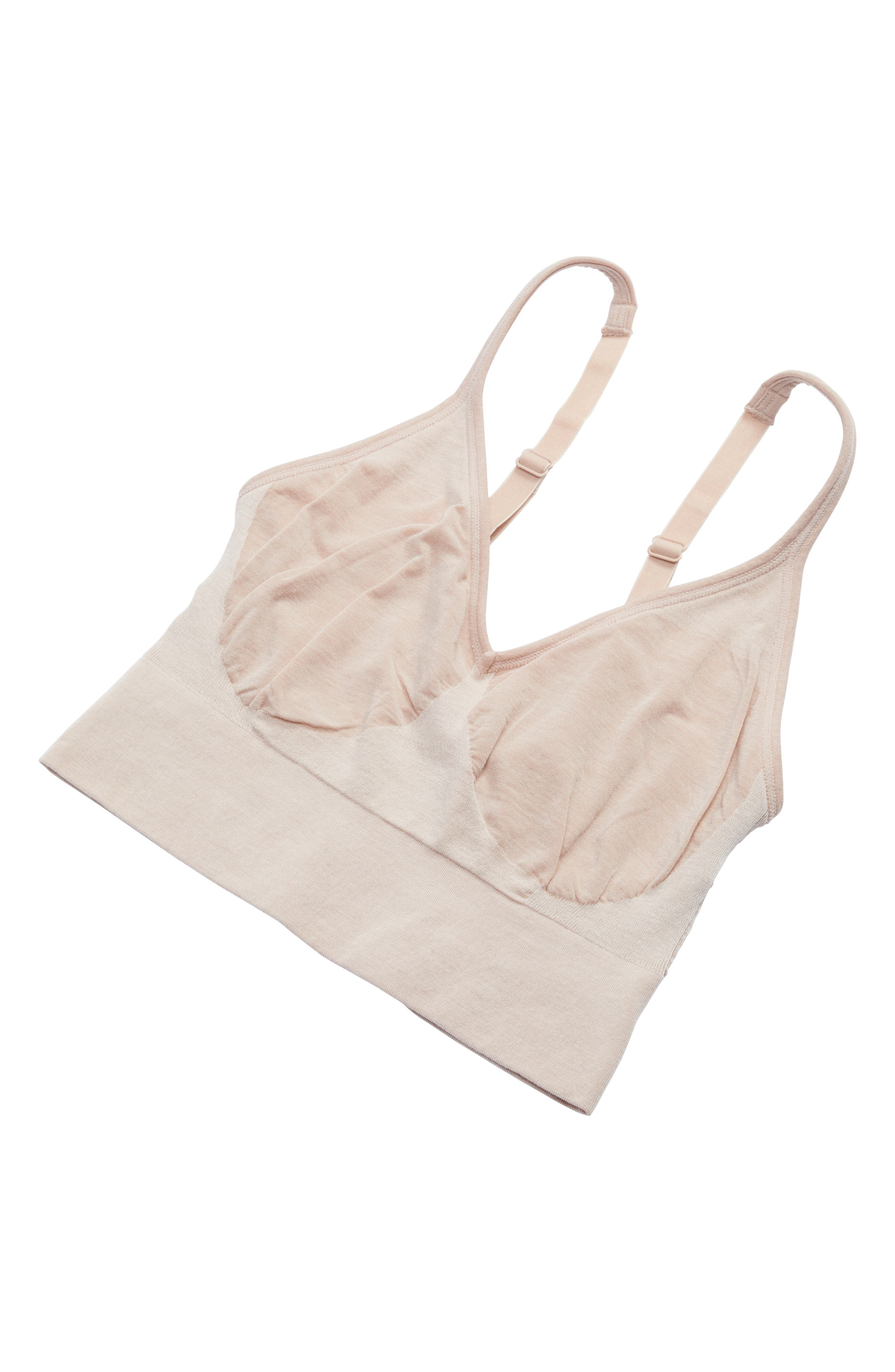 Laidback Layers Seamless Bralette,                             Alternate thumbnail 9, color,                             Pink Cashmere