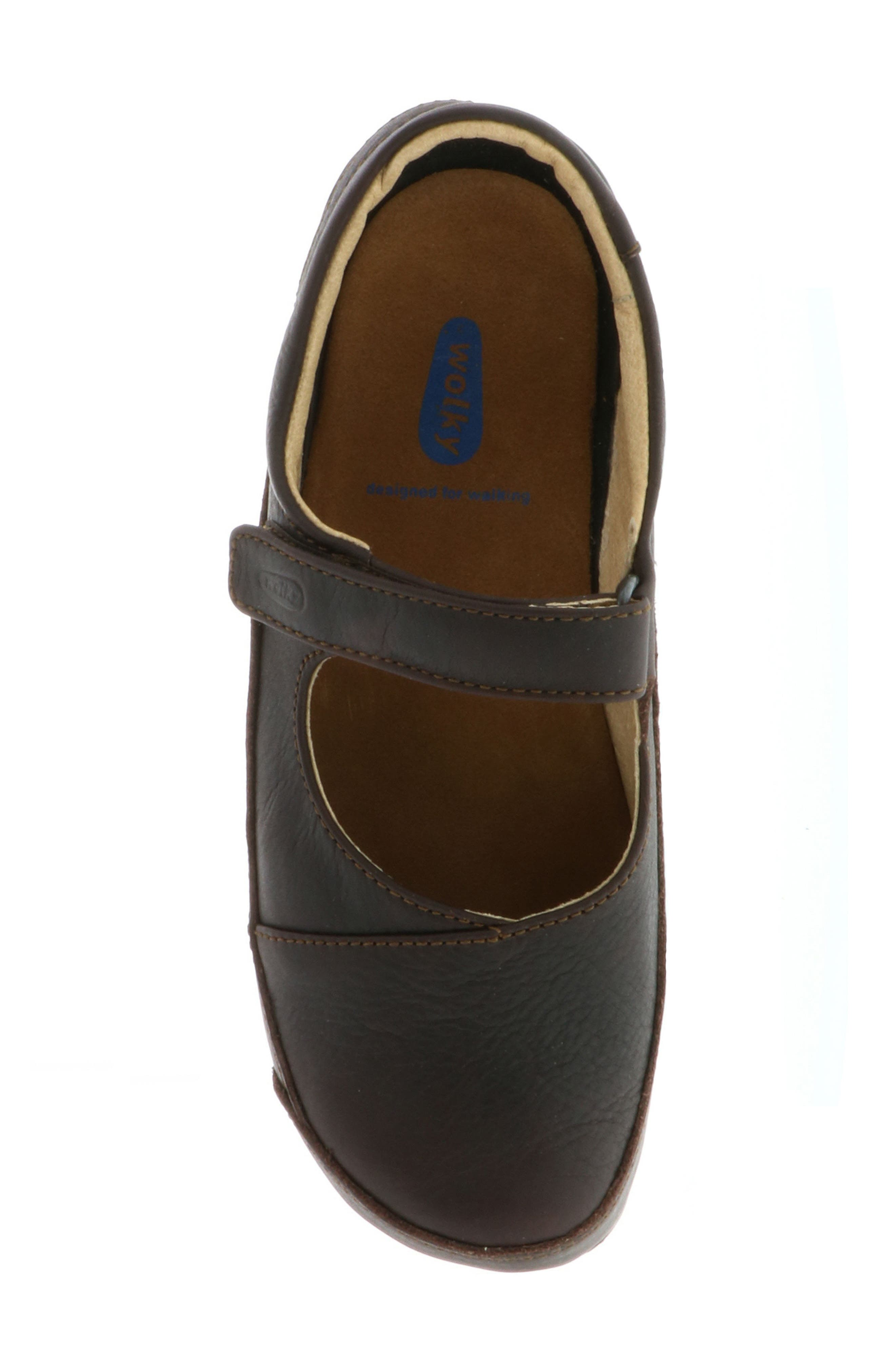 Ankle Strap Clog,                             Alternate thumbnail 4, color,                             Brown Leather