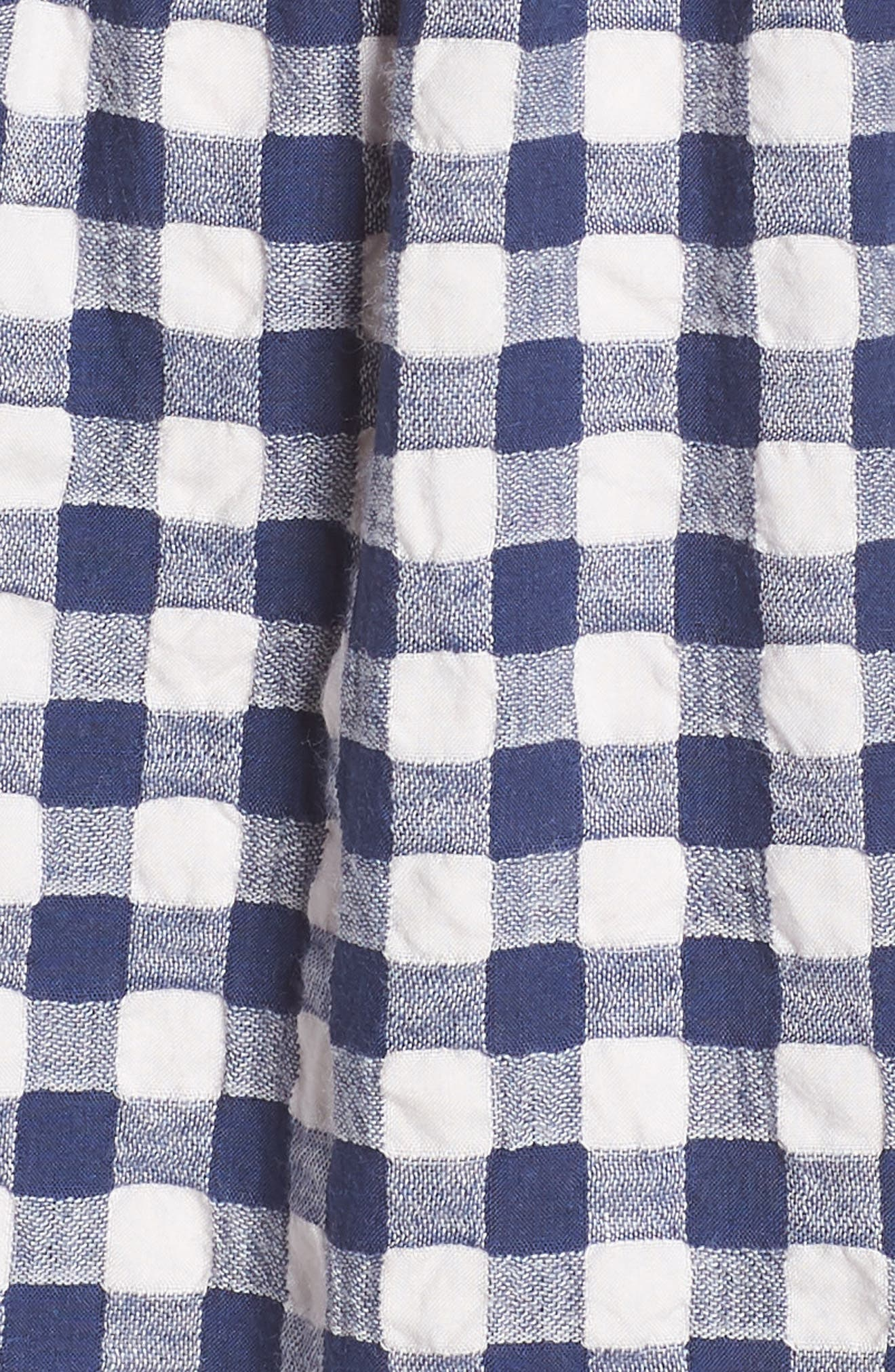 Tiered Gingham Midi Dress,                             Alternate thumbnail 5, color,                             Navy
