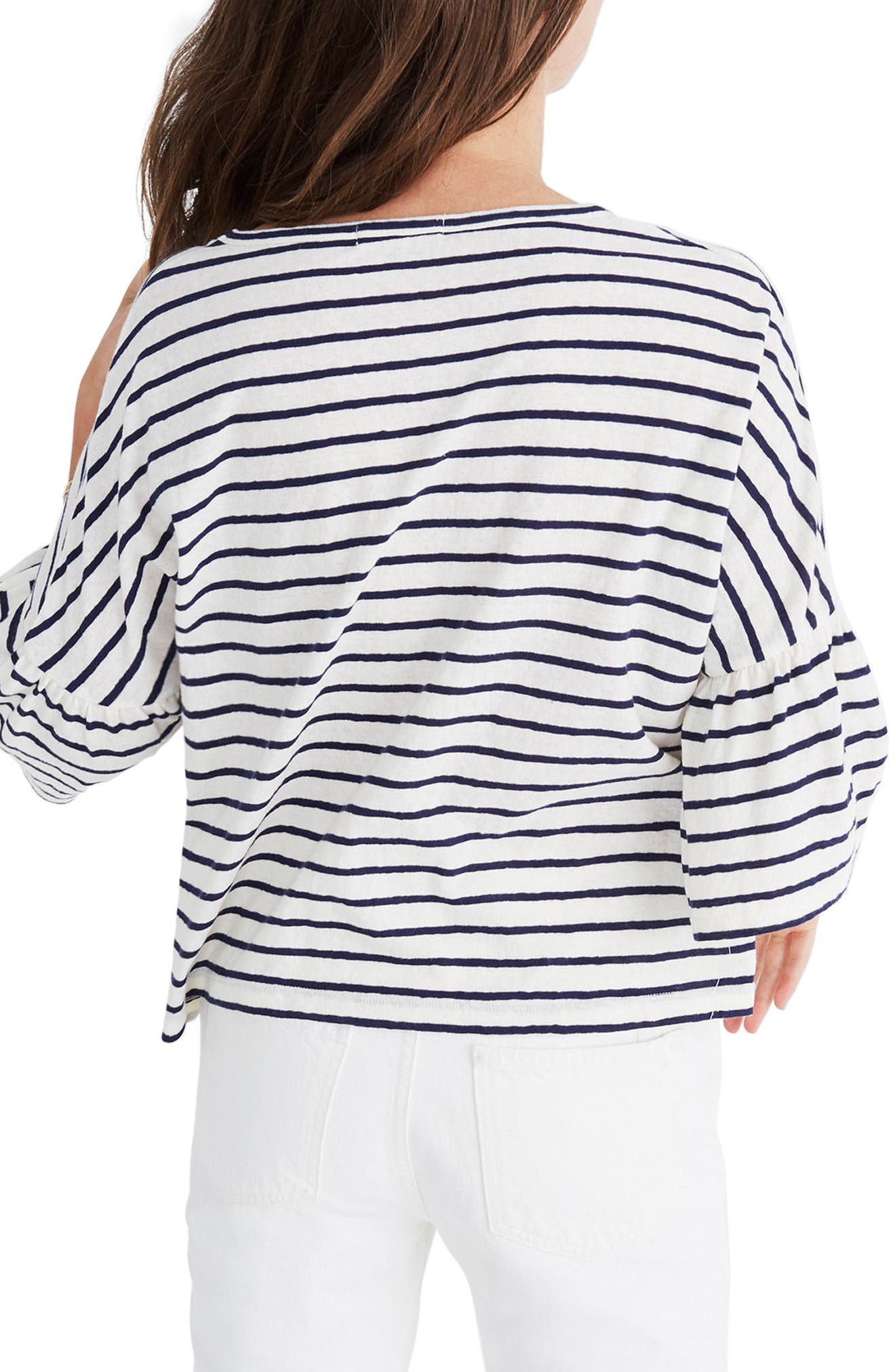 Stripe Flare Sleeve Tee,                             Alternate thumbnail 2, color,                             Bright Ivory