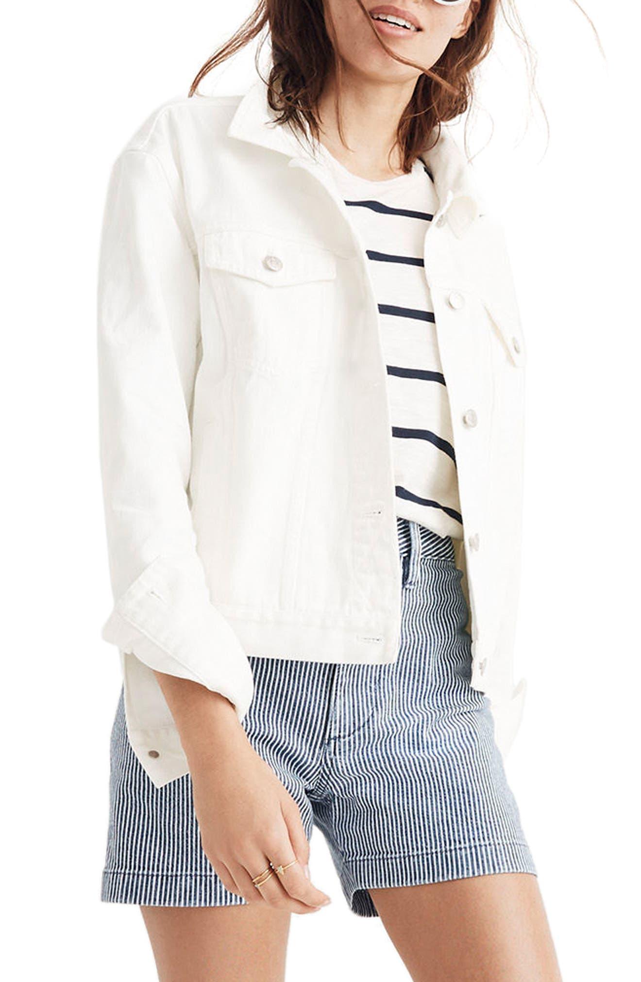 Boxy Crop Jean Jacket,                         Main,                         color, Tile White