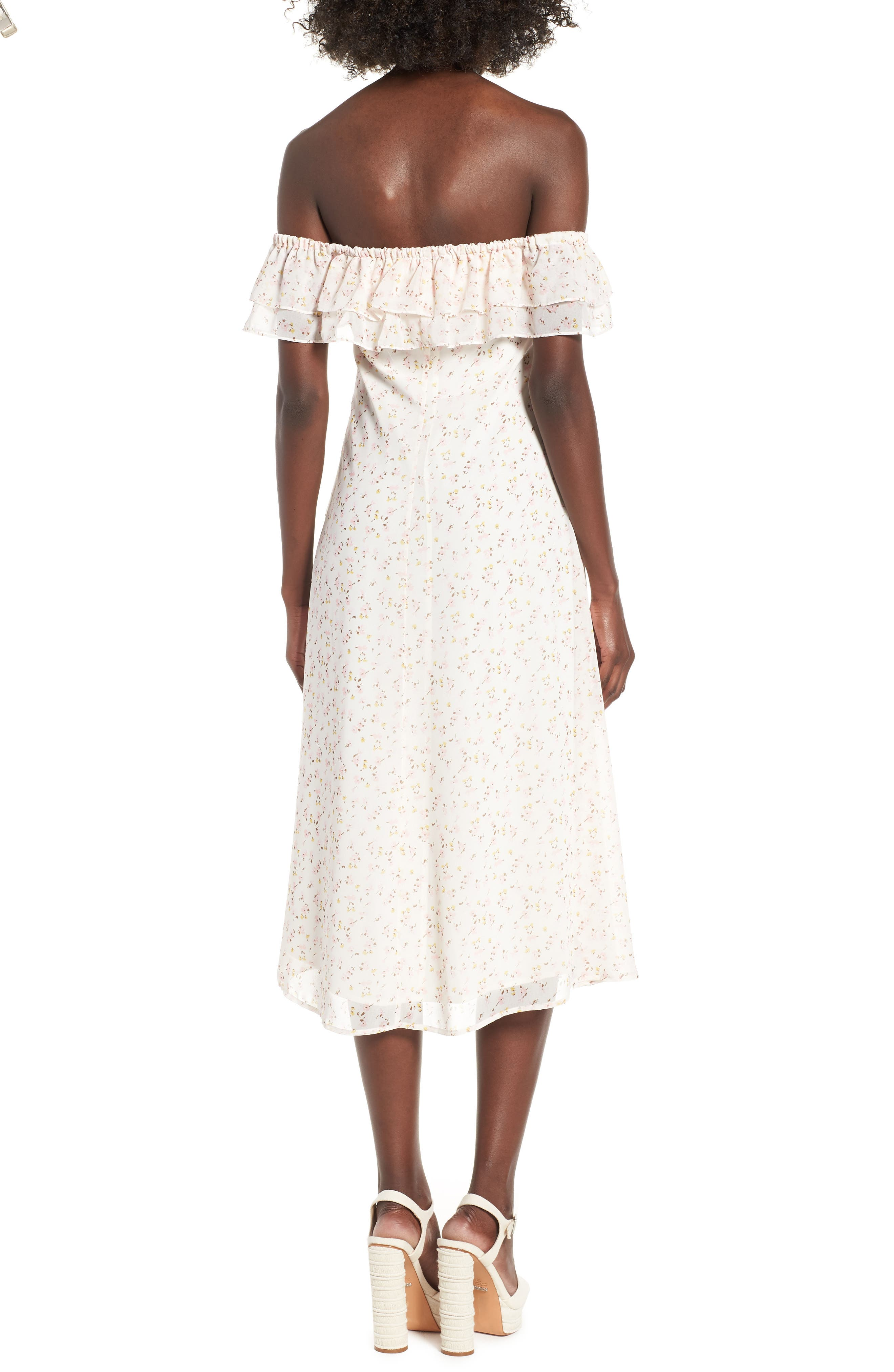 Florence Lace Off the Shoulder Midi Dress,                             Alternate thumbnail 3, color,                             Ivory Ditzy