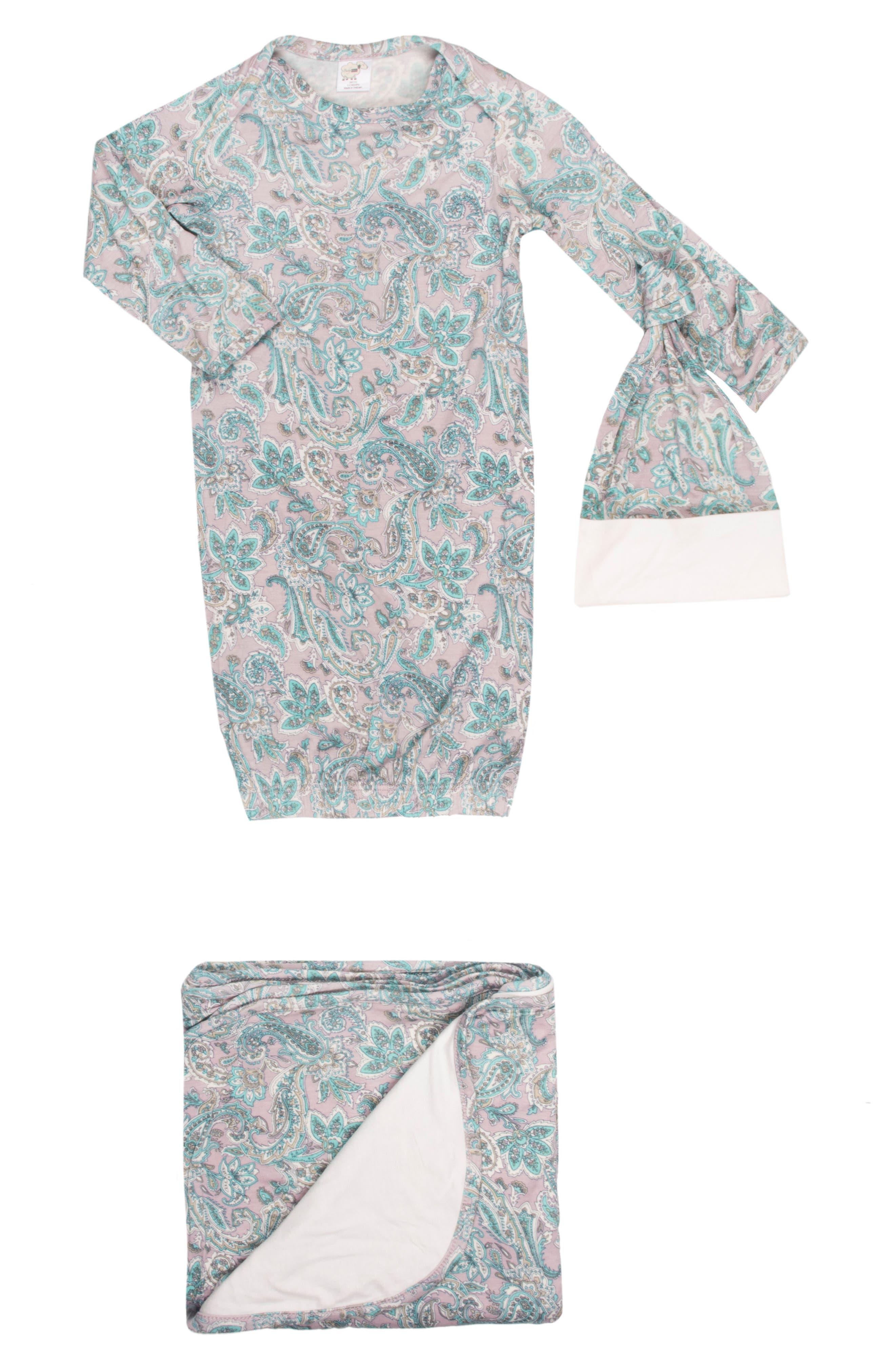 Gown, Hat & Blanket Set,                             Main thumbnail 1, color,                             Paisley