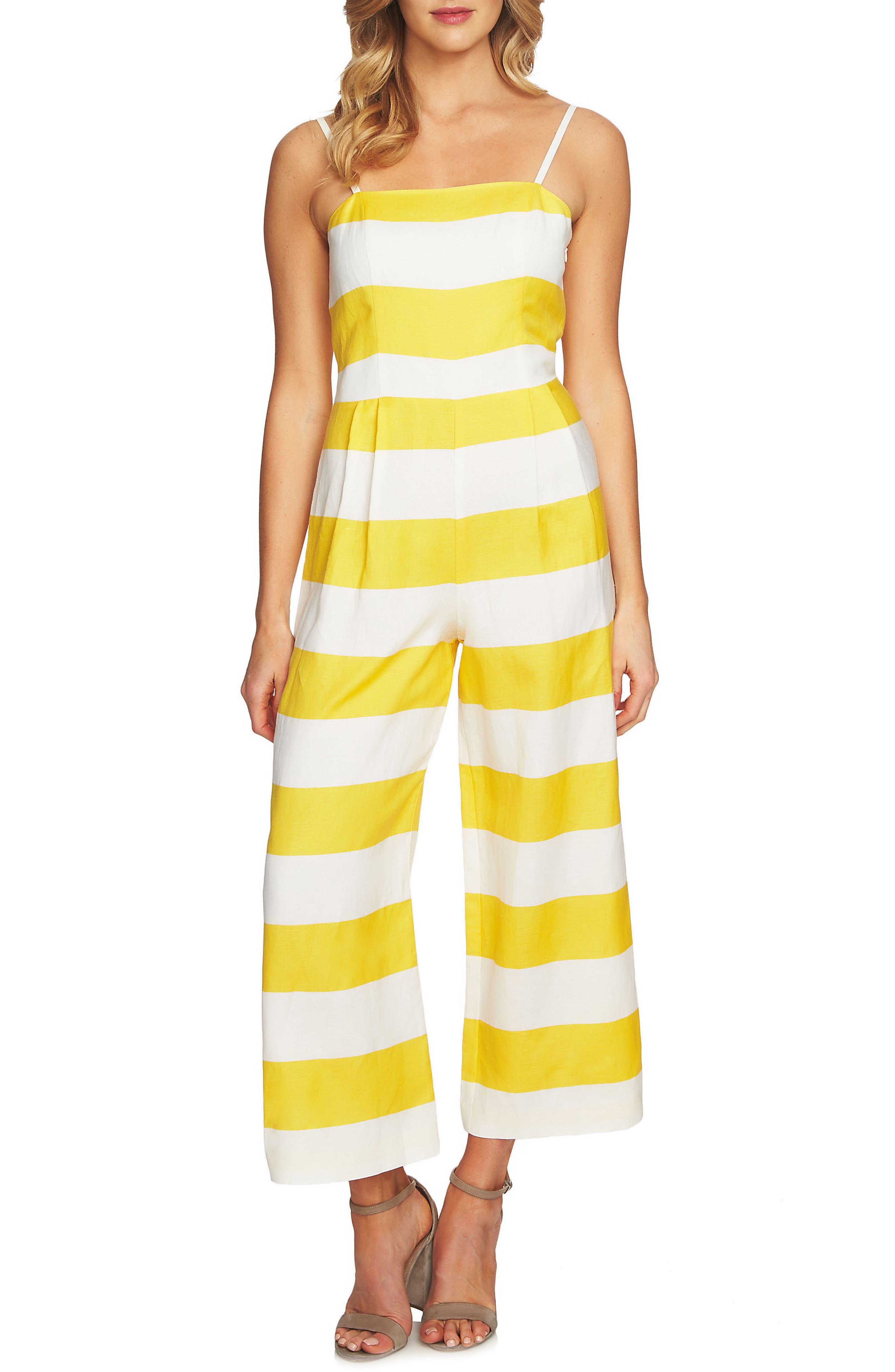 Carnival Stripe Jumpsuit,                             Main thumbnail 1, color,                             Safari Sun