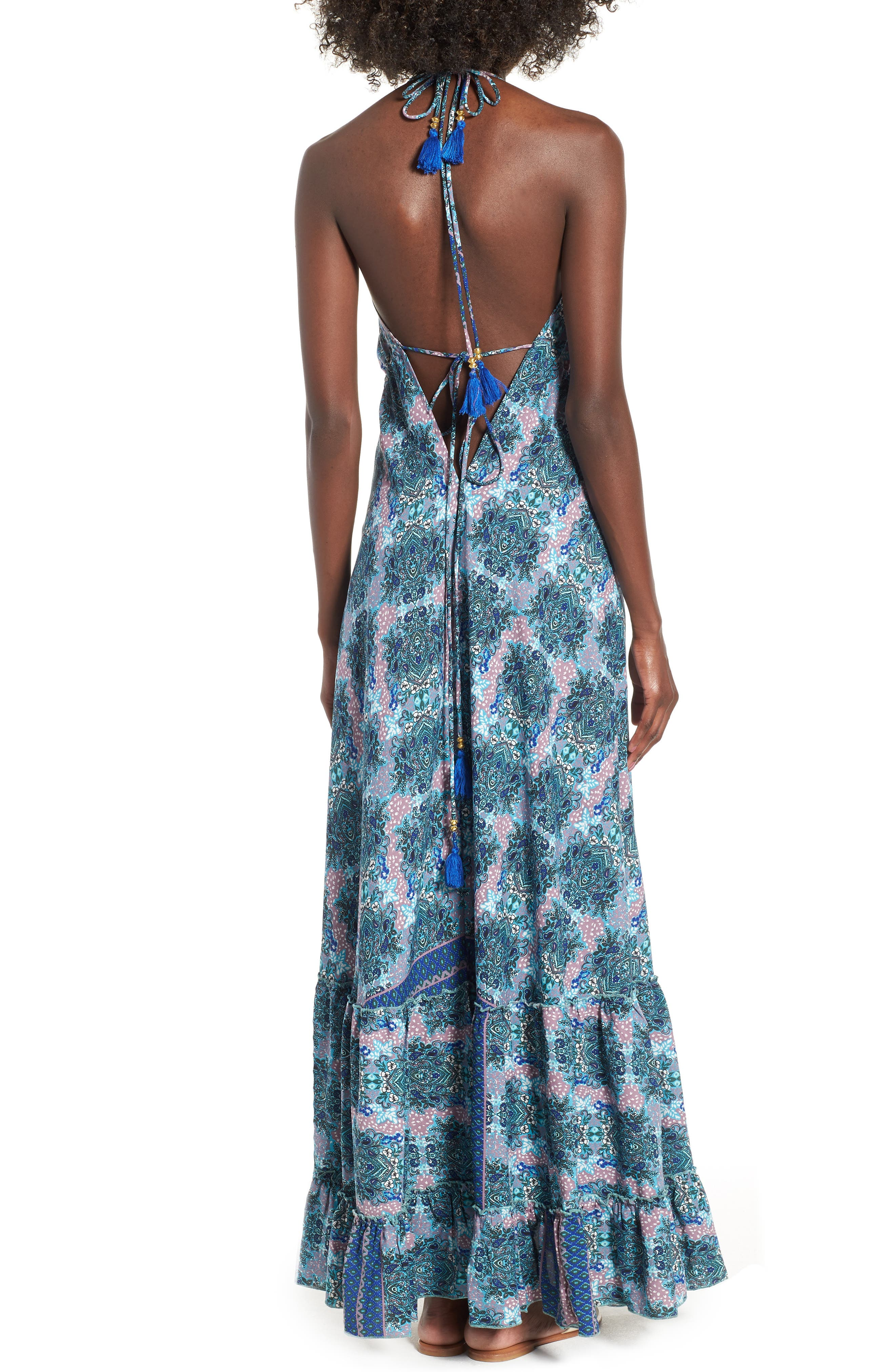 Poetic Dreams Halter Maxi Dress,                             Alternate thumbnail 3, color,                             Blue