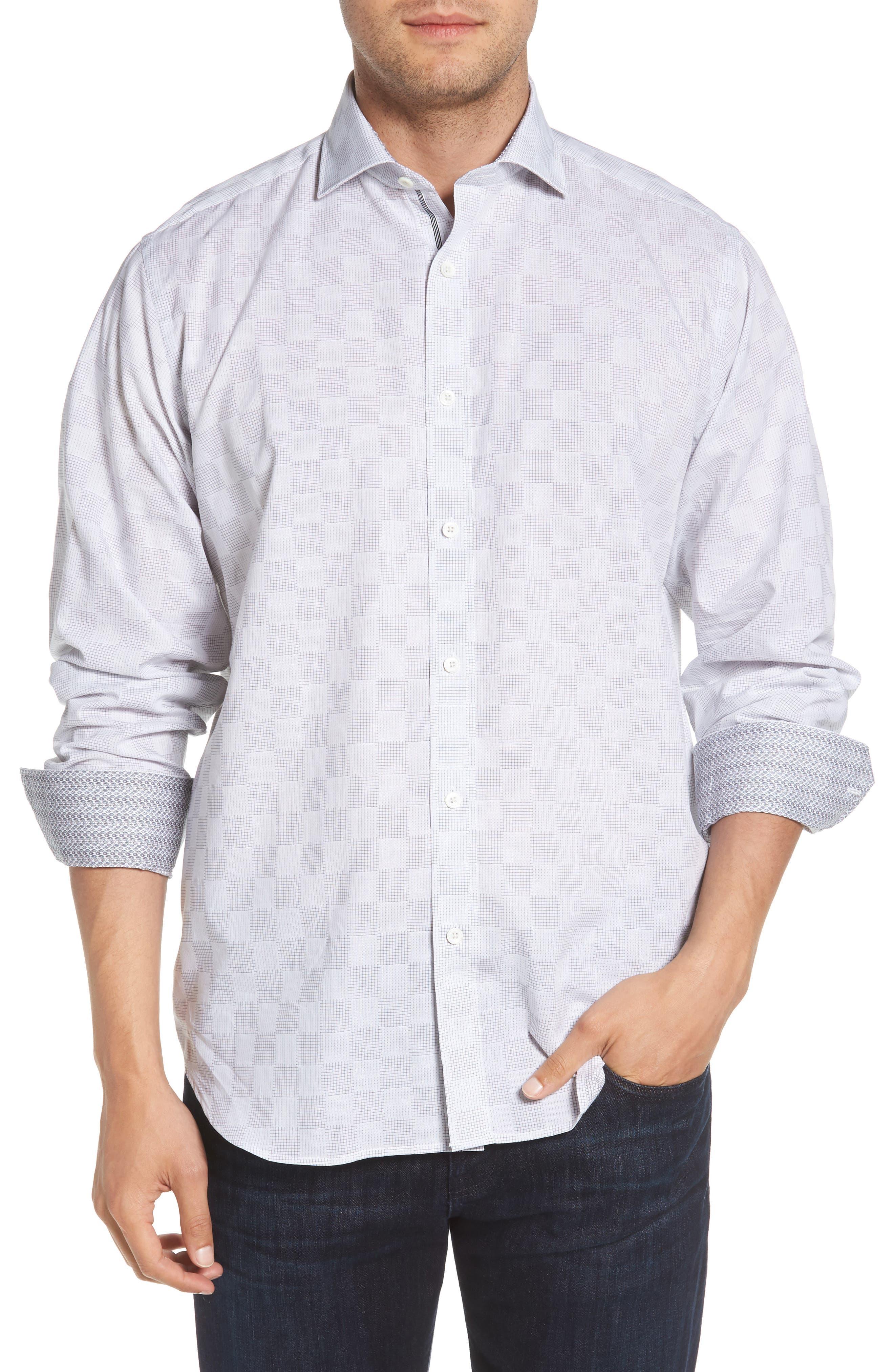Classic Fit Checkerboard Print Sport Shirt,                         Main,                         color, Platinum