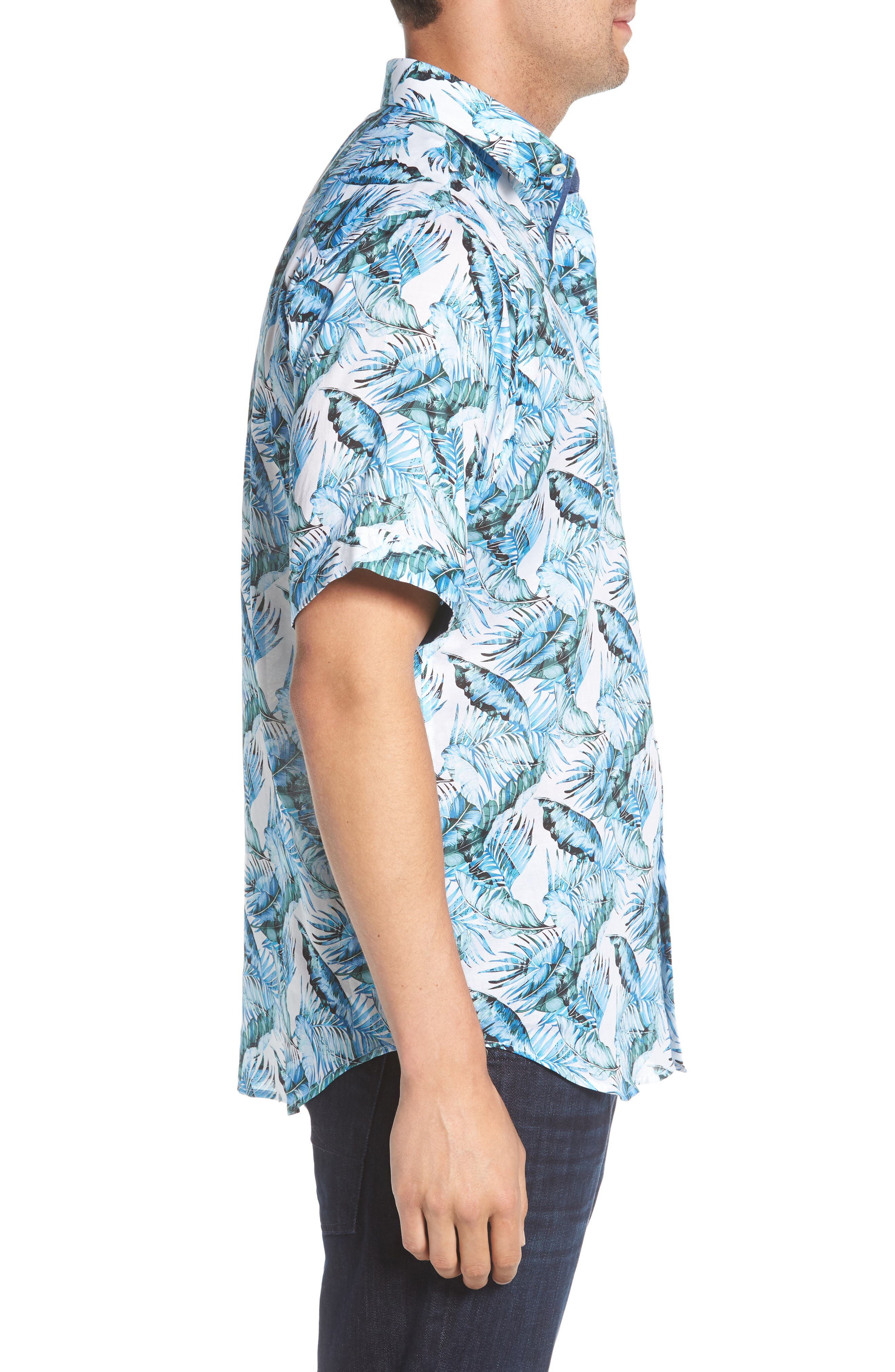 Classic Fit Palm Print Sport Shirt,                             Alternate thumbnail 4, color,                             Turquoise