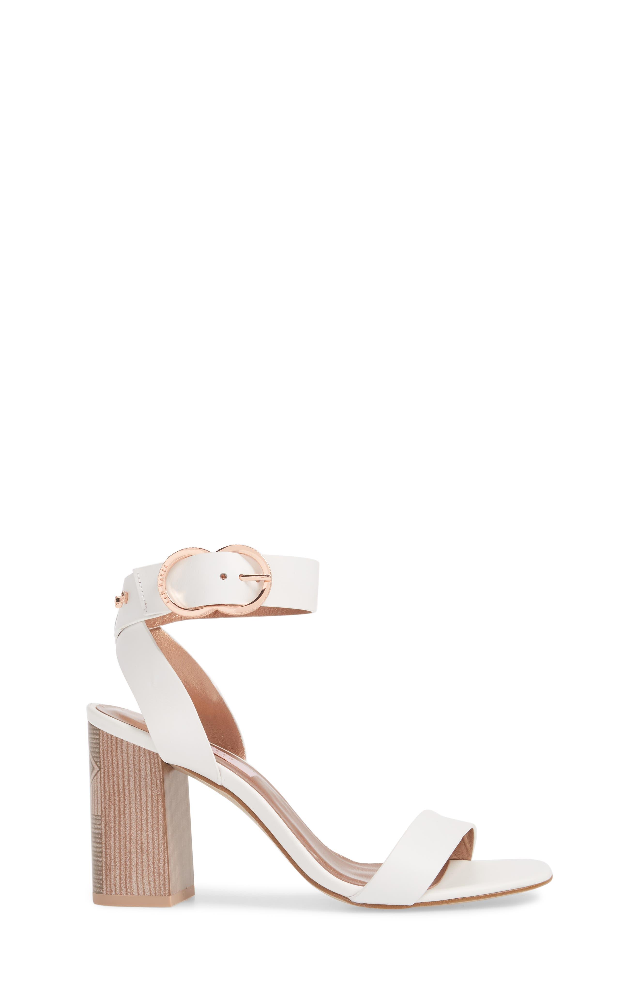 Vallama Block Heel Sandal,                             Alternate thumbnail 3, color,                             White Leather