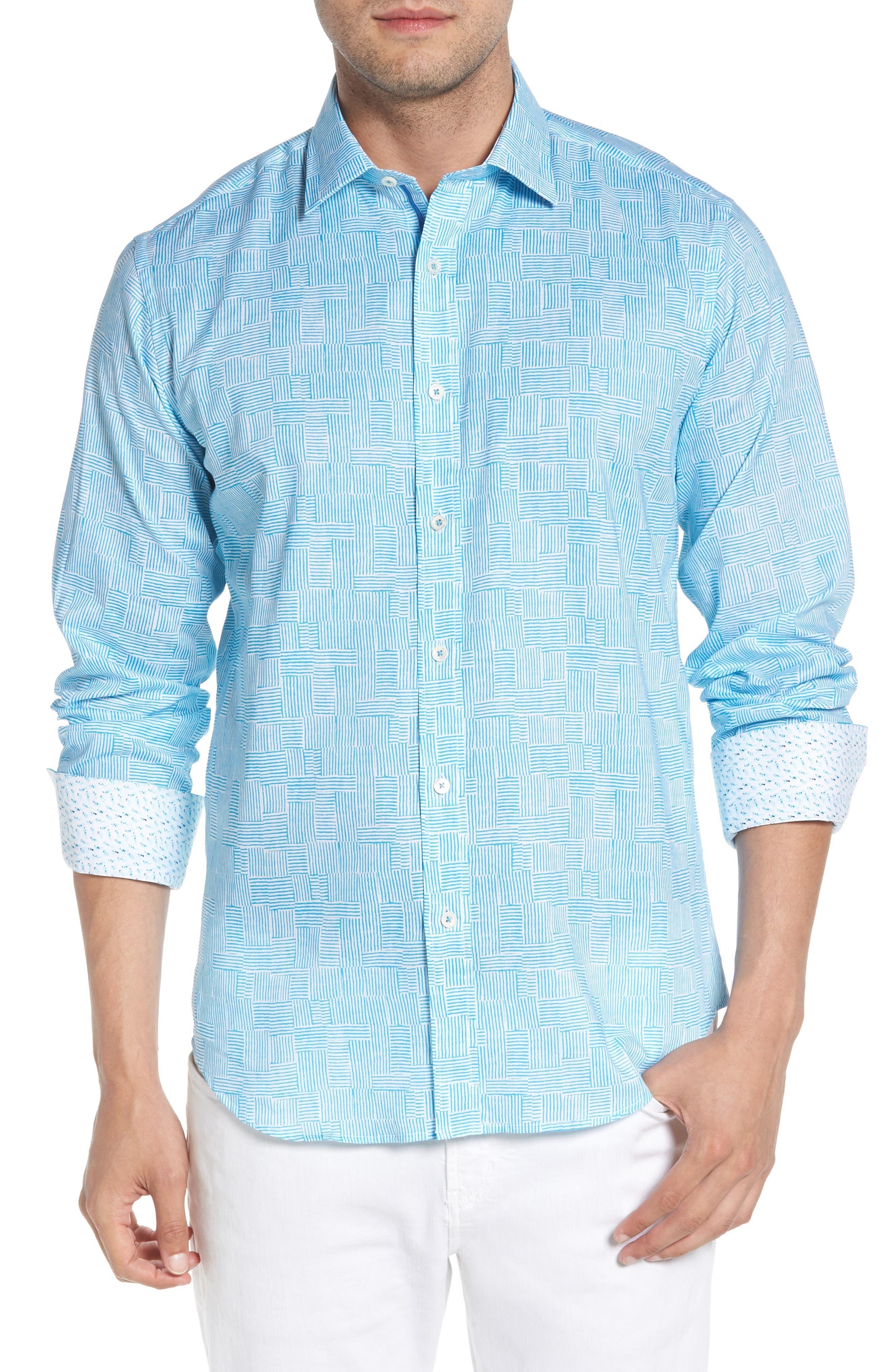 Shaped Fit Basket Weave Print Sport Shirt,                         Main,                         color, Aqua