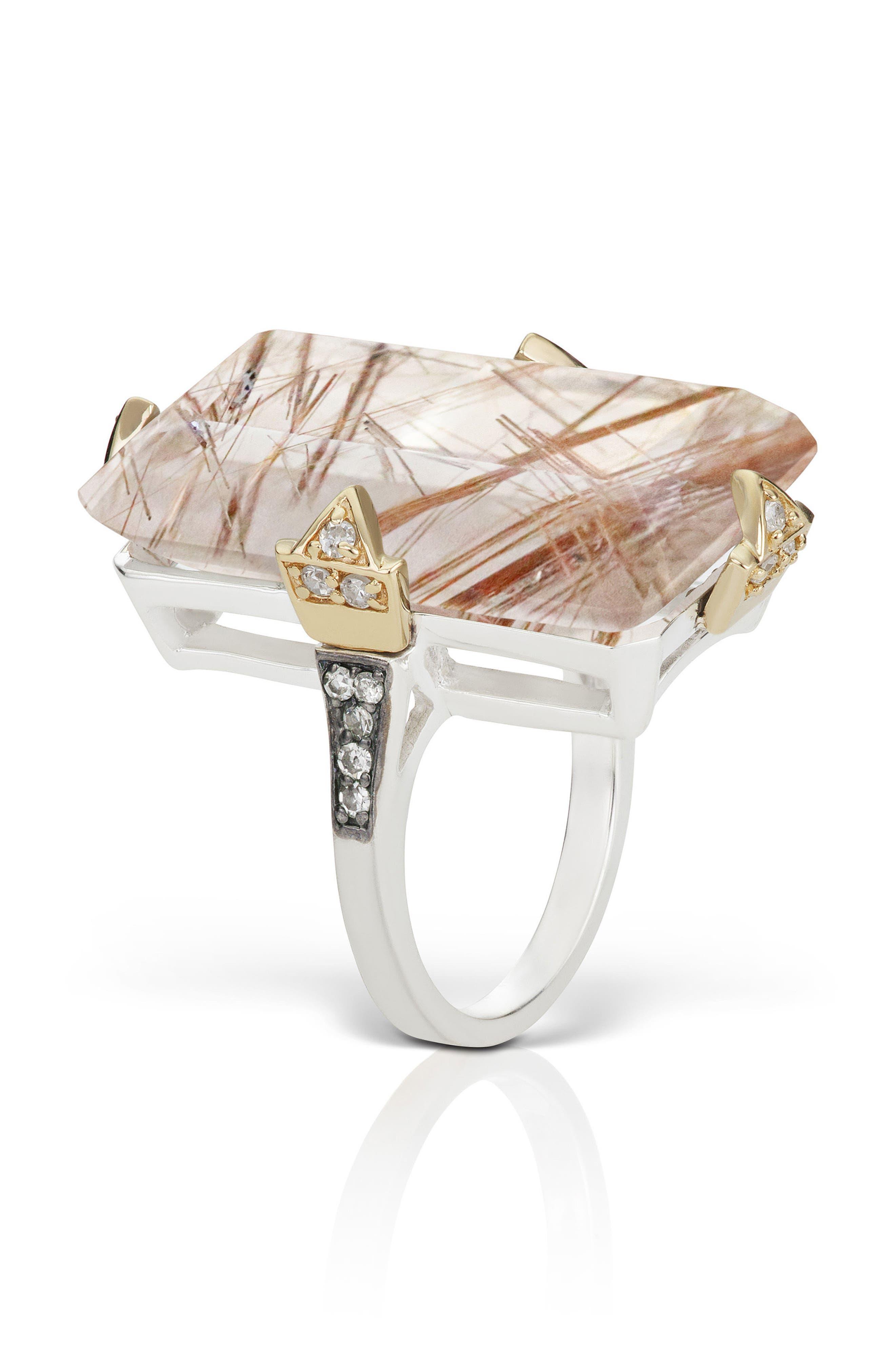 Phenomena Quartz and Diamond Cocktail Ring,                             Alternate thumbnail 5, color,                             Rutilated Quartz