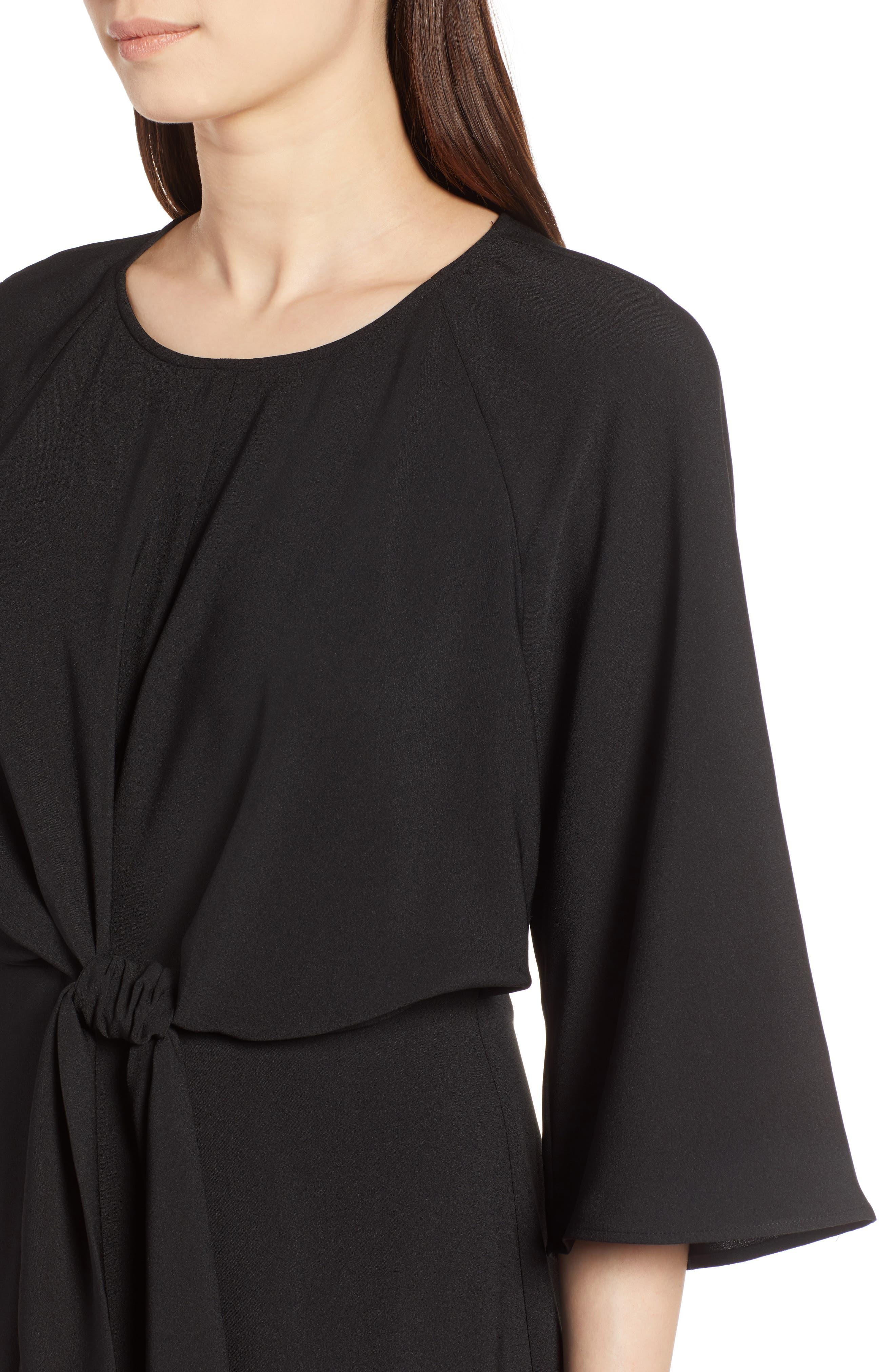 Tie Front Dress,                             Alternate thumbnail 4, color,                             Black