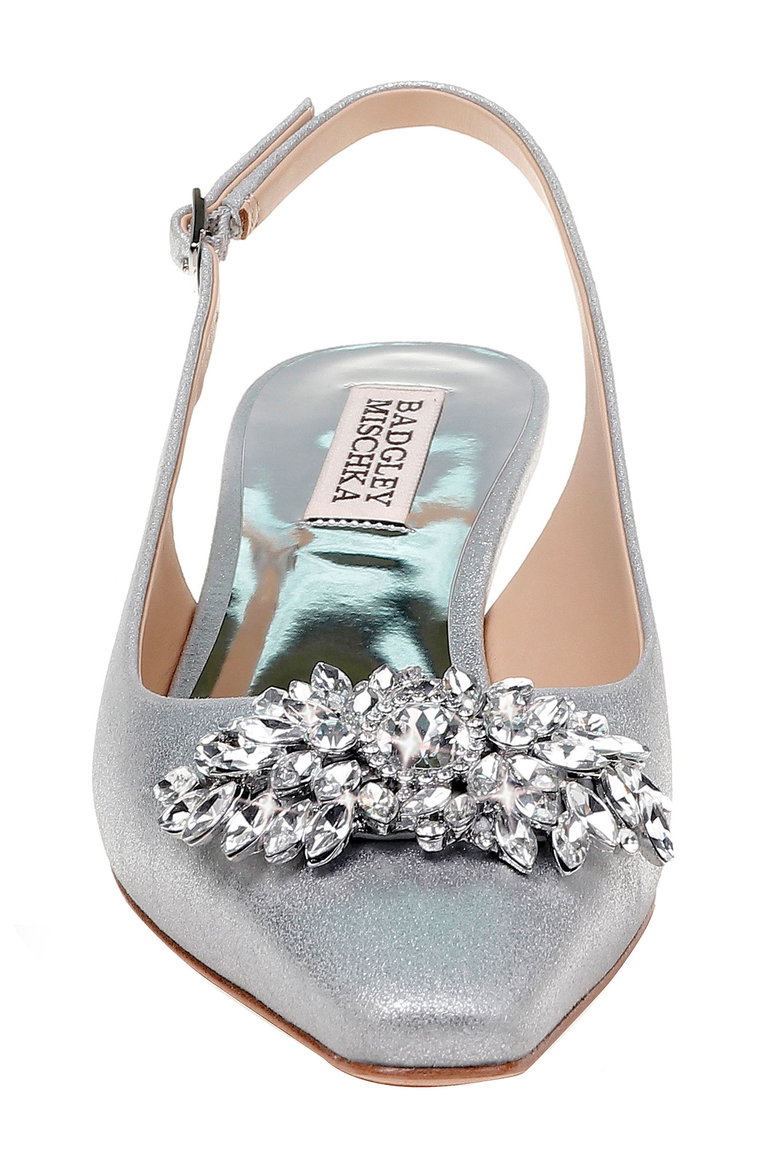 Page Slingback Pump,                             Alternate thumbnail 4, color,                             Silver Metallic Suede