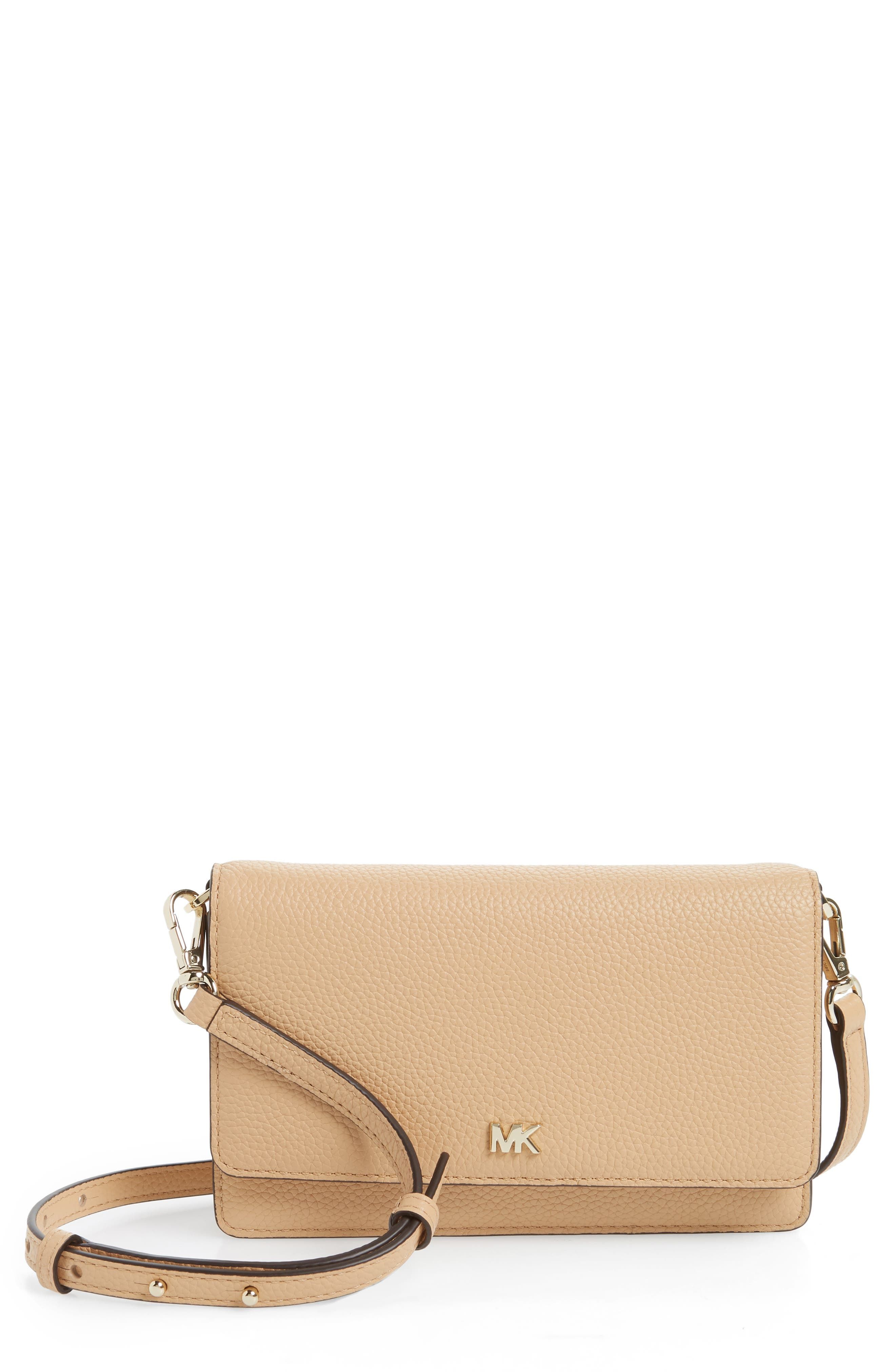 Leather Crossbody Phone Wallet,                             Main thumbnail 1, color,                             Butternut