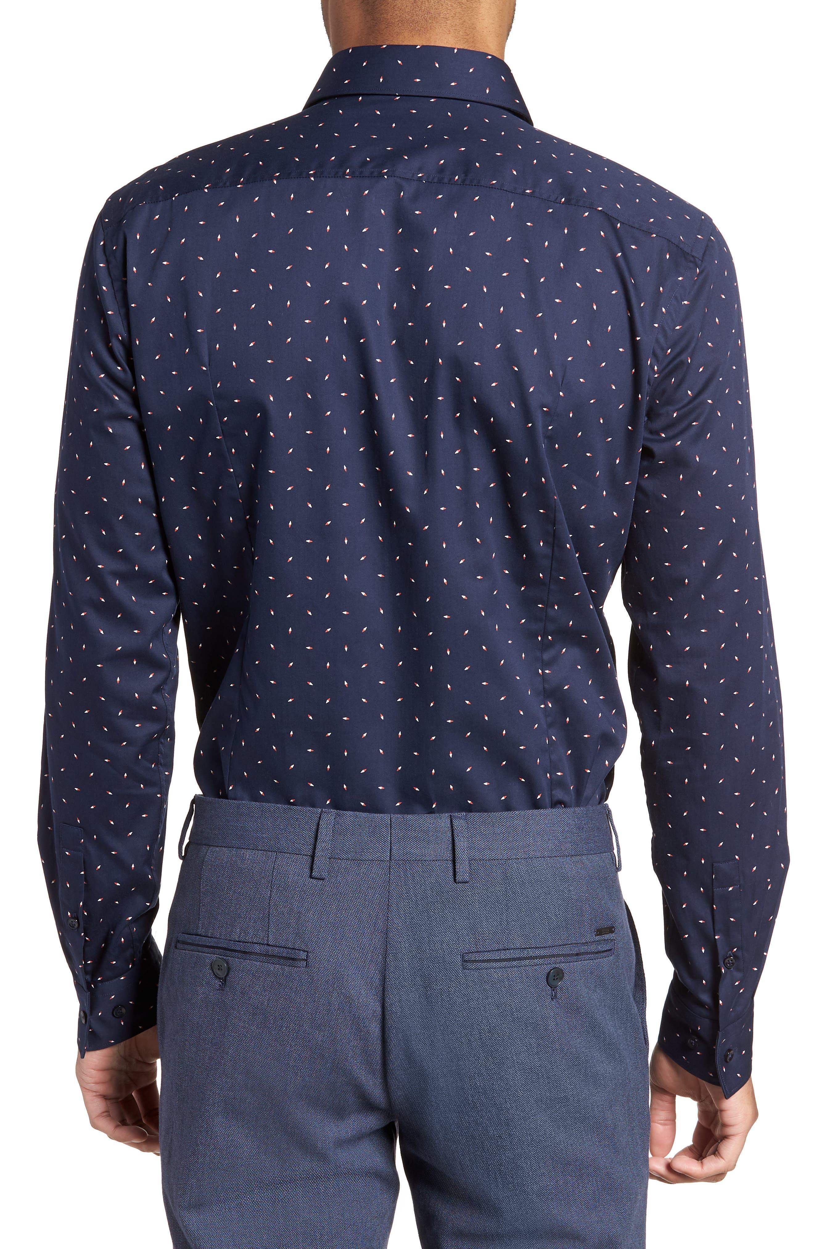 Ismo Slim Fit Print Dress Shirt,                             Alternate thumbnail 3, color,                             Navy