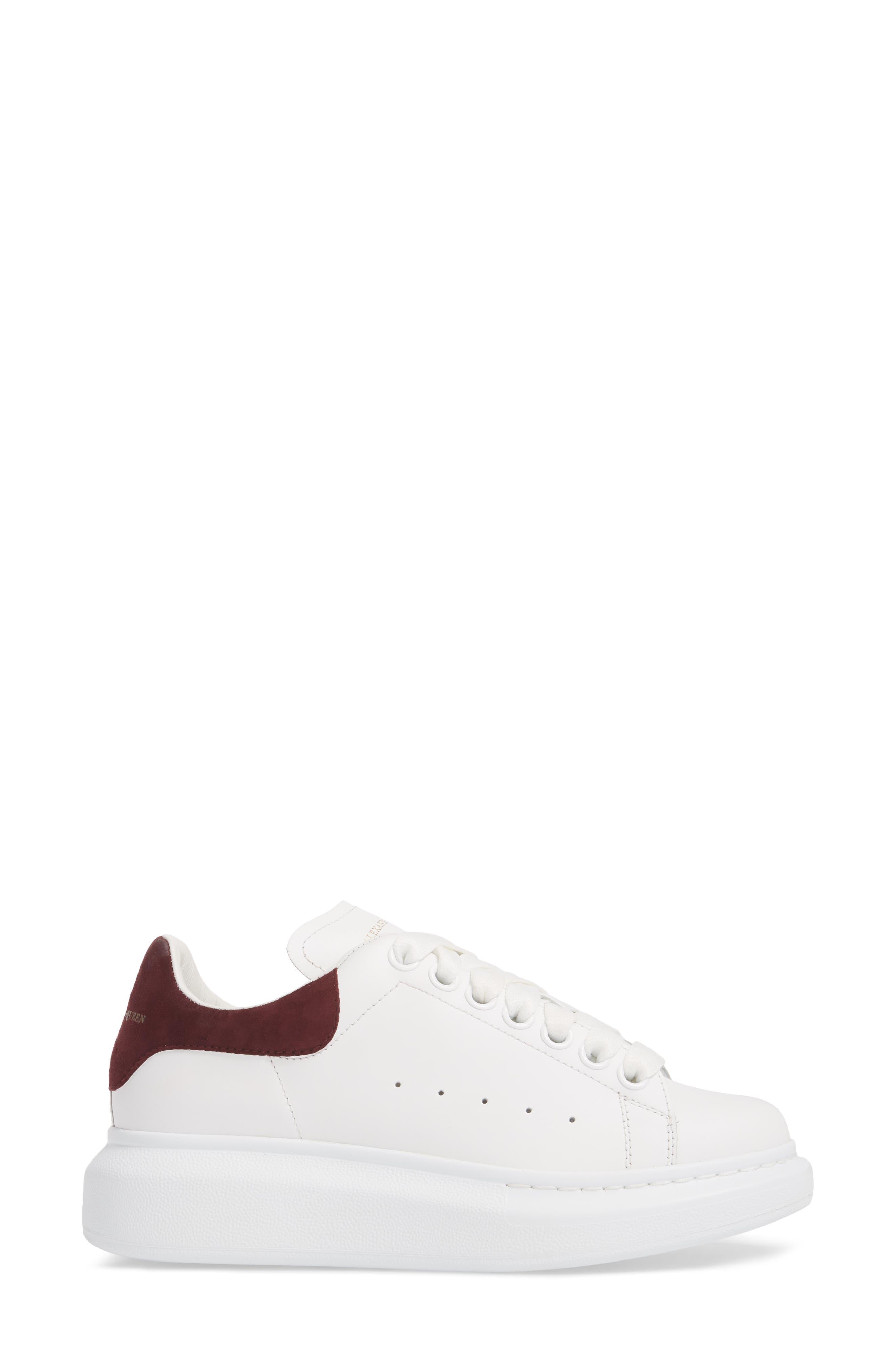 Sneaker,                             Alternate thumbnail 3, color,                             White/ Burgundy