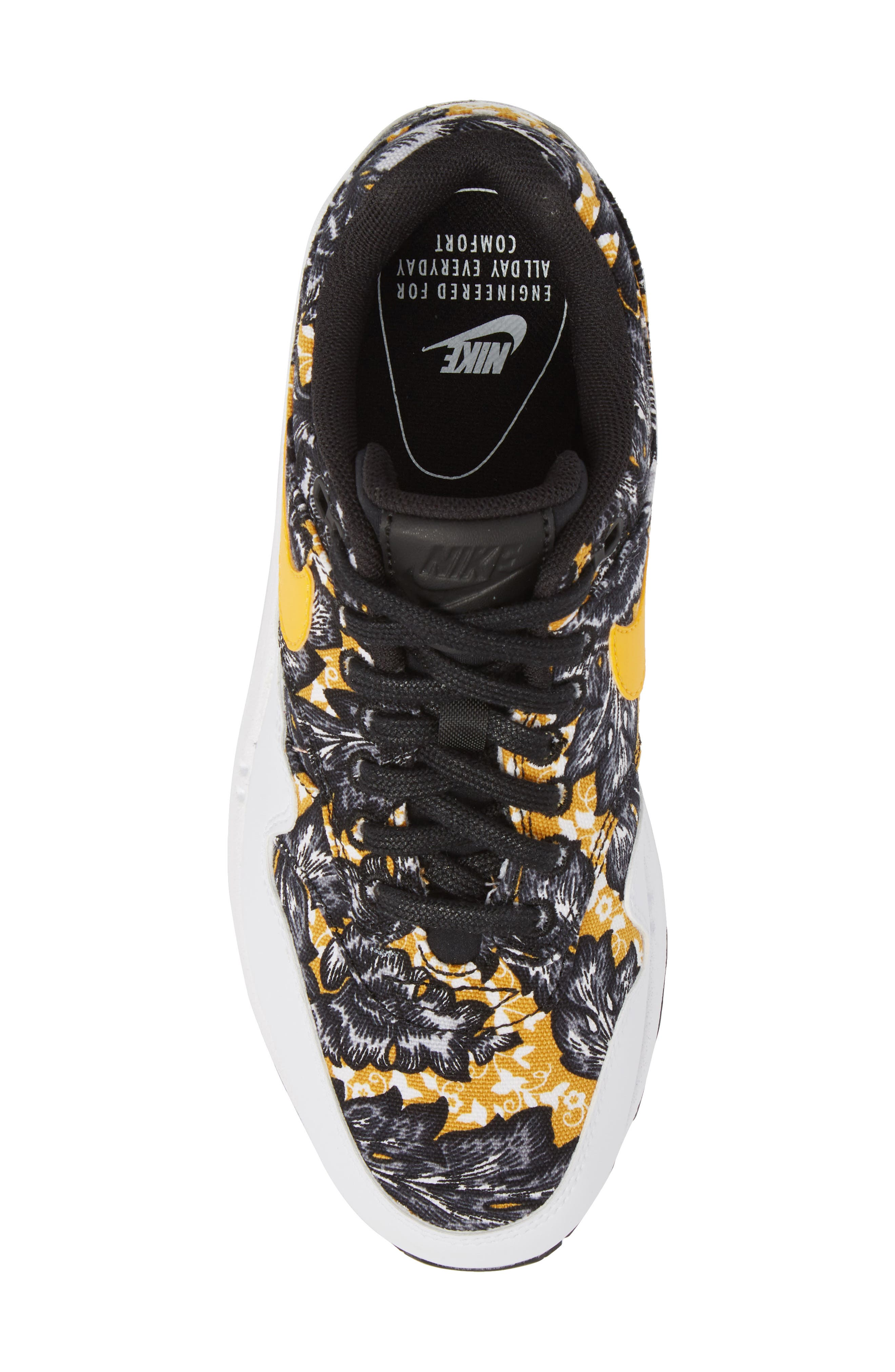 Air Max 1 QS Sneaker,                             Alternate thumbnail 4, color,                             White/ University Gold/ Black